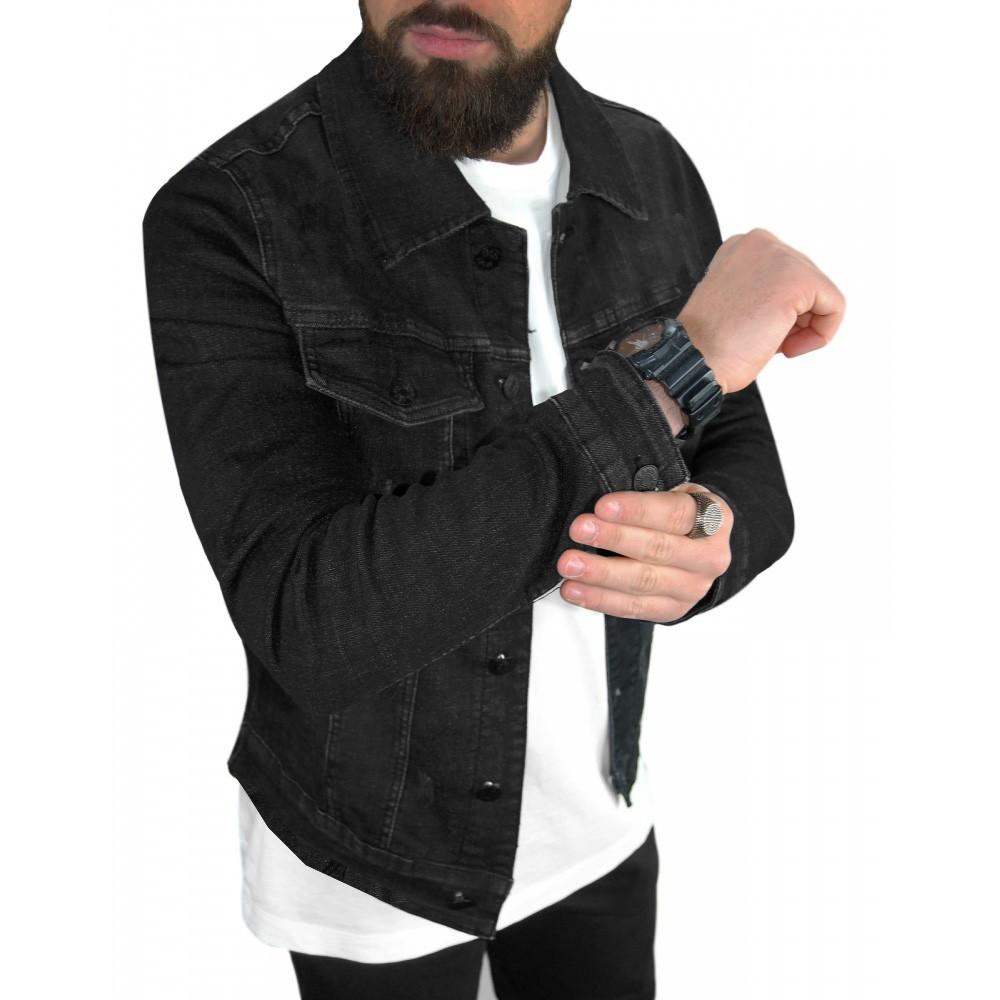 Giubbino-Uomo-Jeans-Giubbotto-Nero-Vintage-Giacca-Slim-fit-Denim-Casual miniatura 8