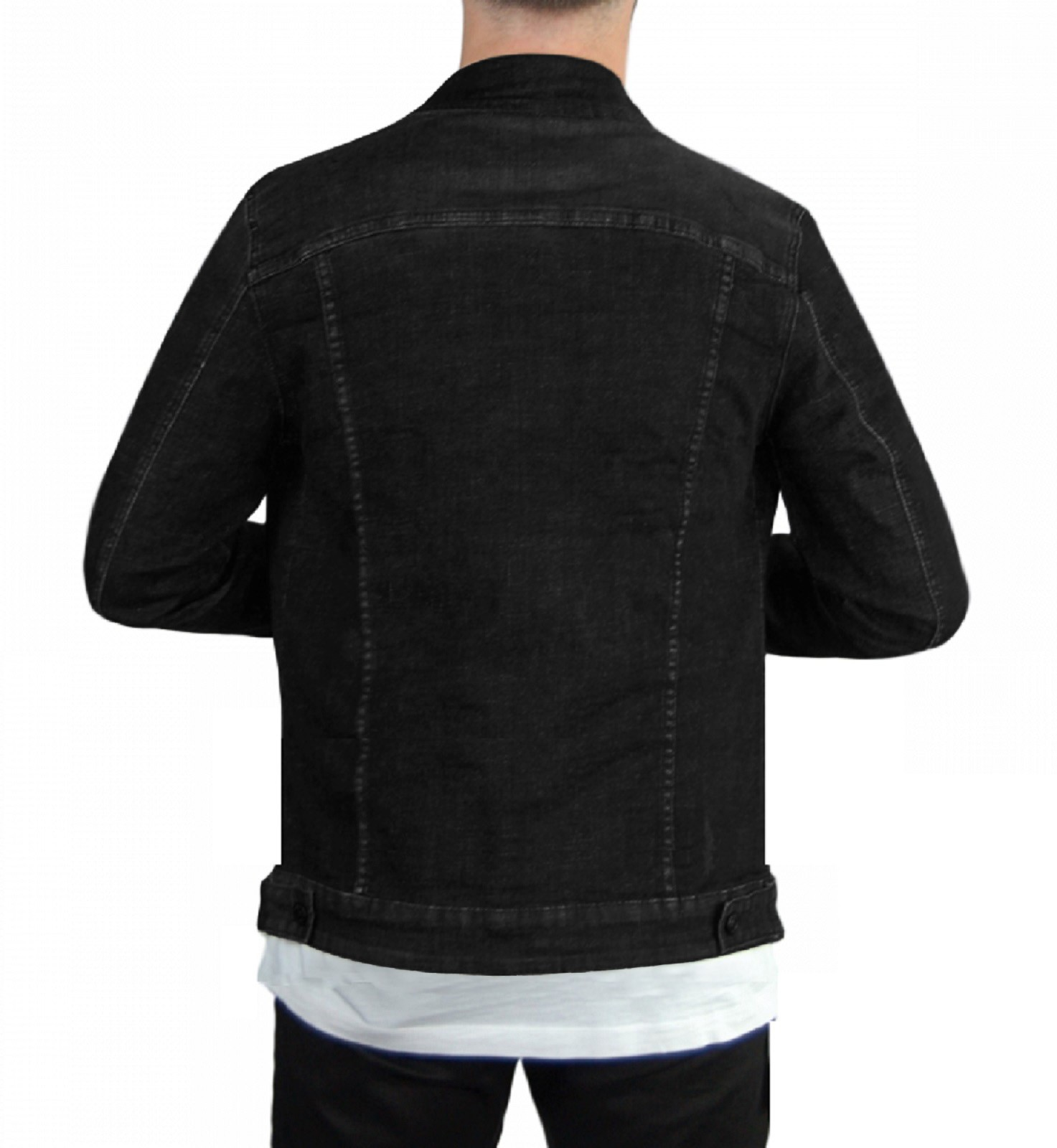 Giubbino-Uomo-Jeans-Giubbotto-Nero-Vintage-Giacca-Slim-fit-Denim-Casual miniatura 9