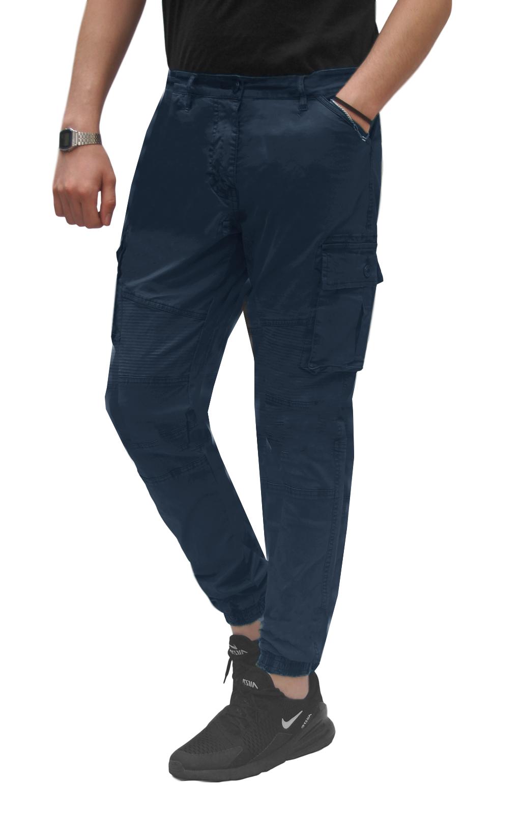 Pantalone-Uomo-Cargo-Con-Tasconi-Invernale-Verde-Blu-Nero-Marrone-Pantaloni-slim miniatura 19