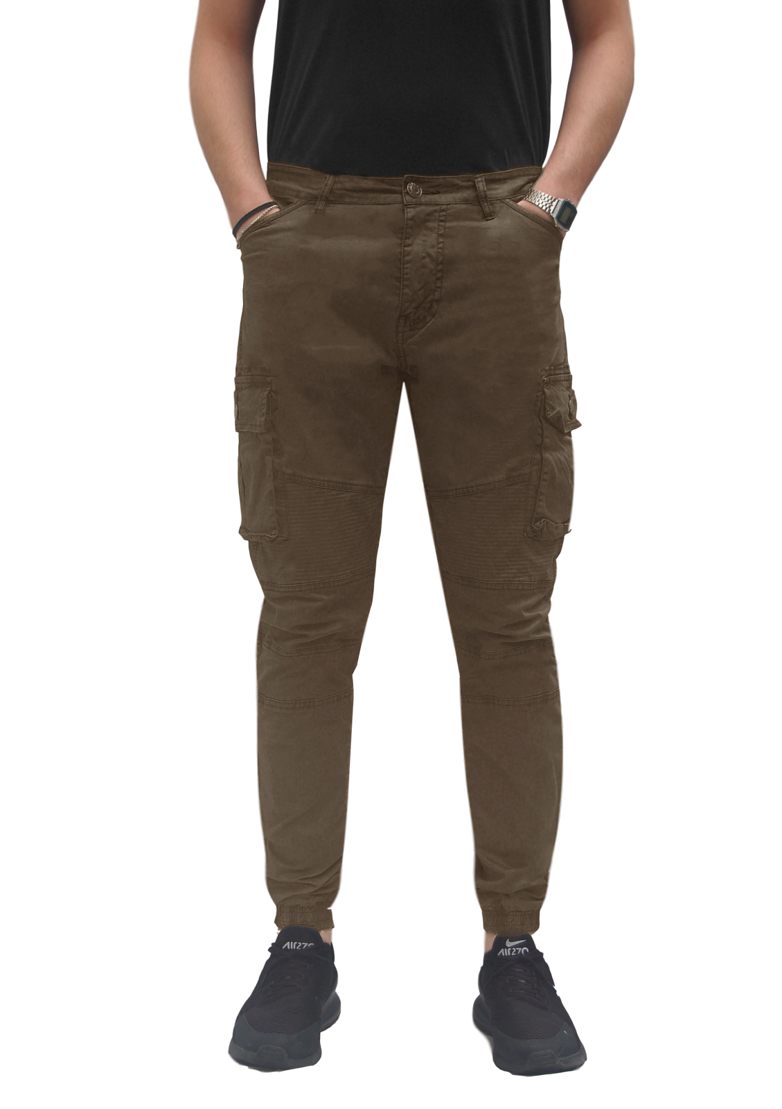 Pantalone-Uomo-Cargo-Con-Tasconi-Invernale-Verde-Blu-Nero-Marrone-Pantaloni-slim miniatura 26