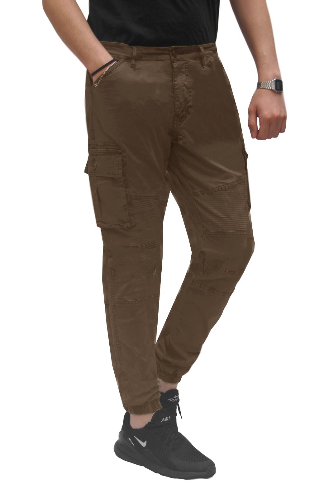 Pantalone-Uomo-Cargo-Con-Tasconi-Invernale-Verde-Blu-Nero-Marrone-Pantaloni-slim miniatura 27