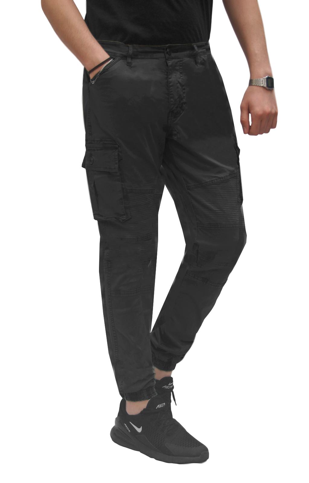 Pantalone-Uomo-Cargo-Con-Tasconi-Invernale-Verde-Blu-Nero-Marrone-Pantaloni-slim miniatura 14