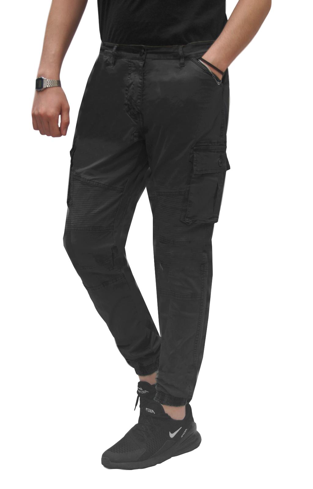 Pantalone-Uomo-Cargo-Con-Tasconi-Invernale-Verde-Blu-Nero-Marrone-Pantaloni-slim miniatura 15