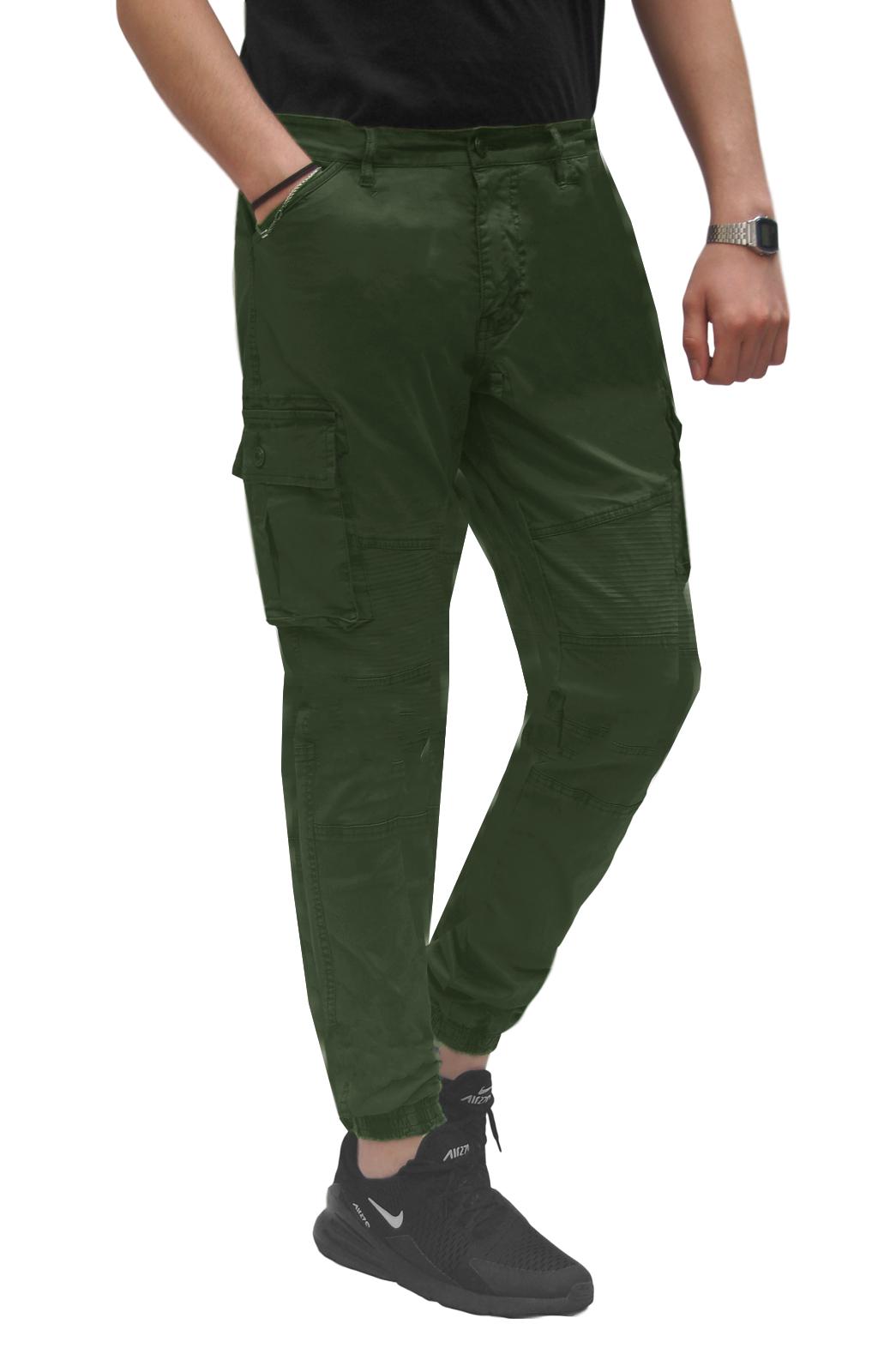 Pantalone-Uomo-Cargo-Con-Tasconi-Invernale-Verde-Blu-Nero-Marrone-Pantaloni-slim miniatura 22