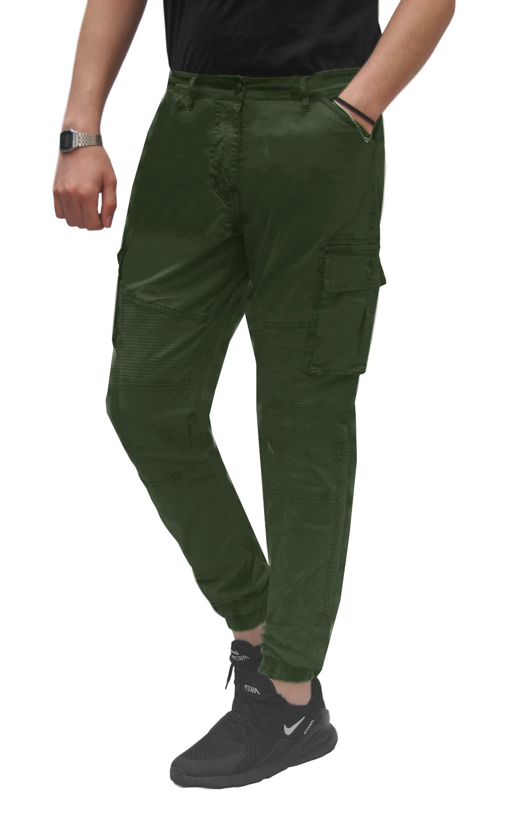 Pantalone-Uomo-Cargo-Con-Tasconi-Invernale-Verde-Blu-Nero-Marrone-Pantaloni-slim miniatura 23