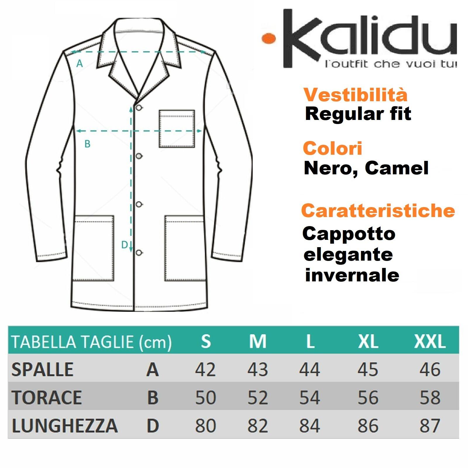 Cappotto-Uomo-Invernale-Nero-Camel-Giubbotto-Elegante-Lungo-Trench miniatura 20
