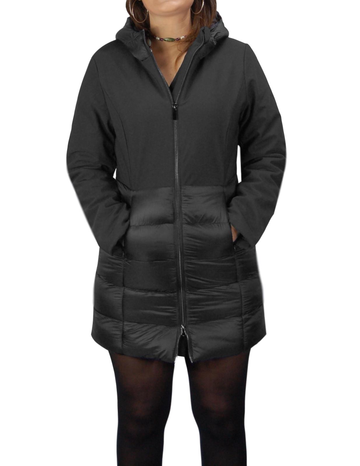Giubbotto-Donna-Invernale-Piumino-Impermeabile-Parka-Blu-Nero-Slim-fit-Casual miniatura 11