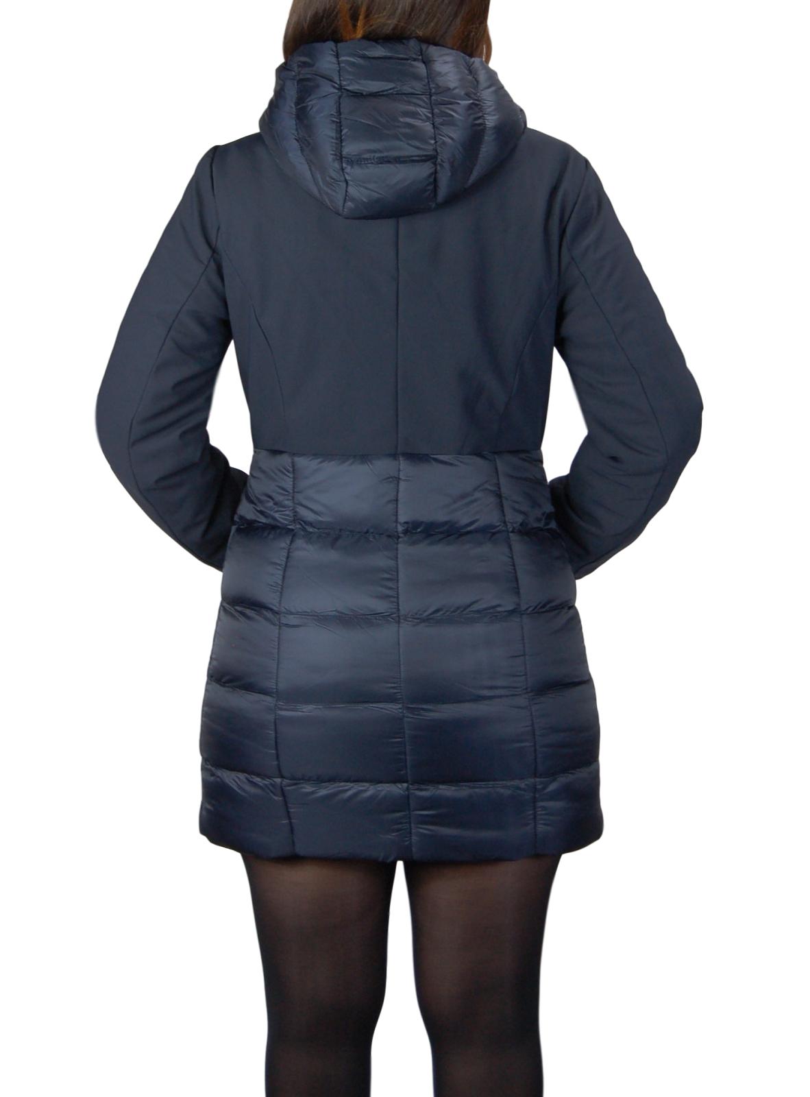 Giubbotto-Donna-Invernale-Piumino-Impermeabile-Parka-Blu-Nero-Slim-fit-Casual miniatura 15