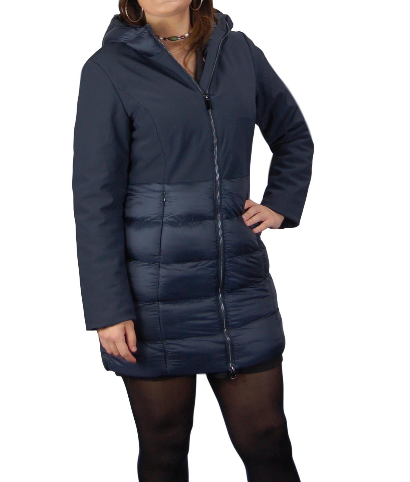 Giubbotto-Donna-Invernale-Piumino-Impermeabile-Parka-Blu-Nero-Slim-fit-Casual miniatura 13