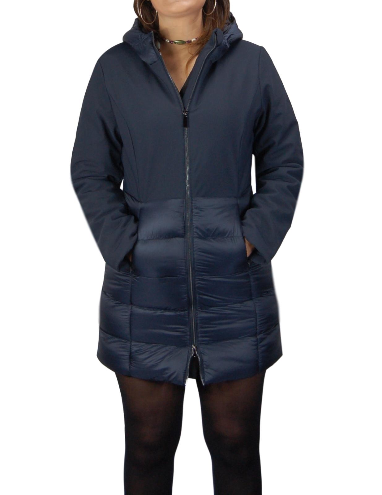Giubbotto-Donna-Invernale-Piumino-Impermeabile-Parka-Blu-Nero-Slim-fit-Casual miniatura 14