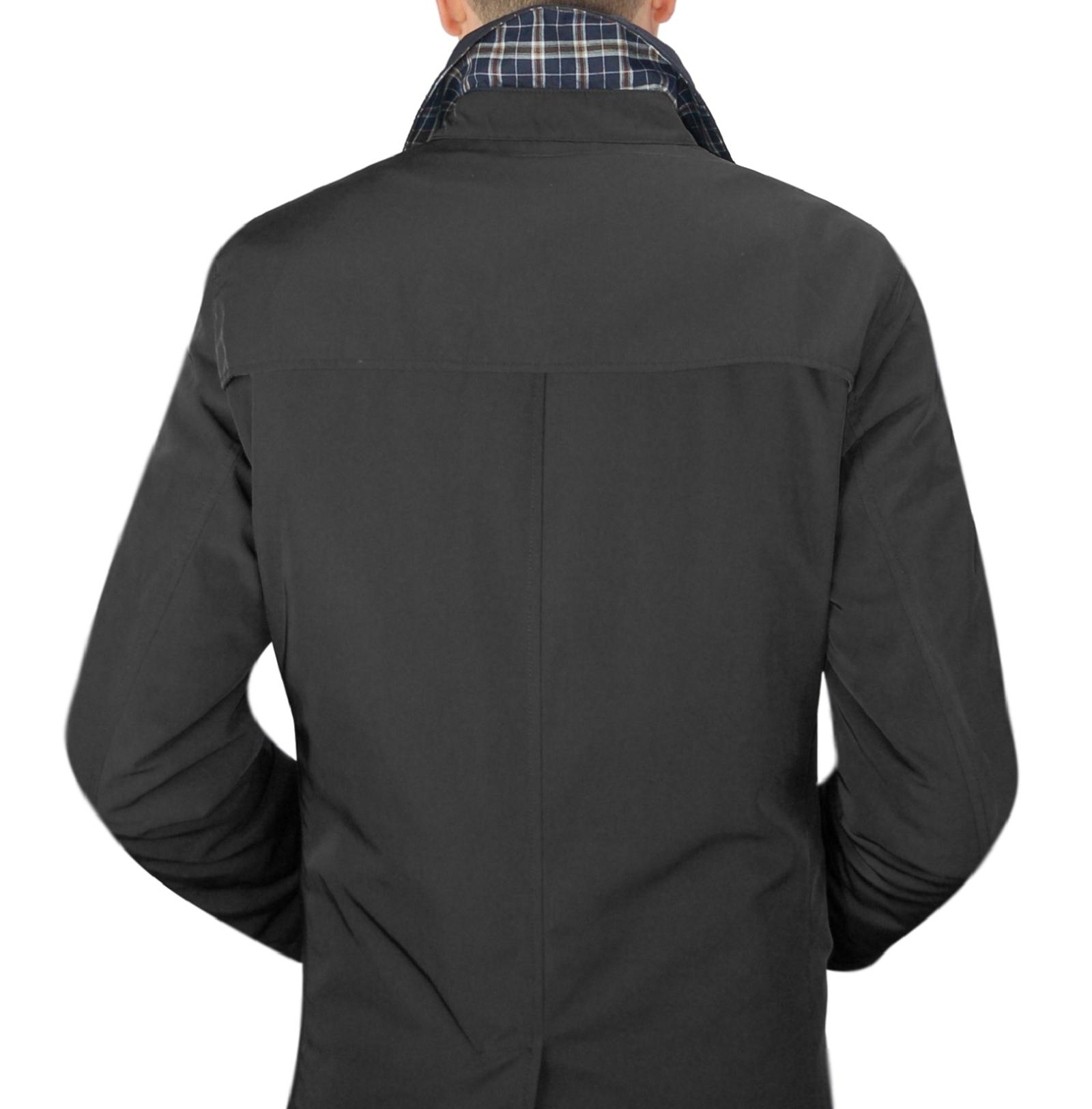 Impermeabile-Uomo-Giubbotto-Invernale-Trench-Lungo-Blu-Nero-Casual-Slim-Fit miniatura 13