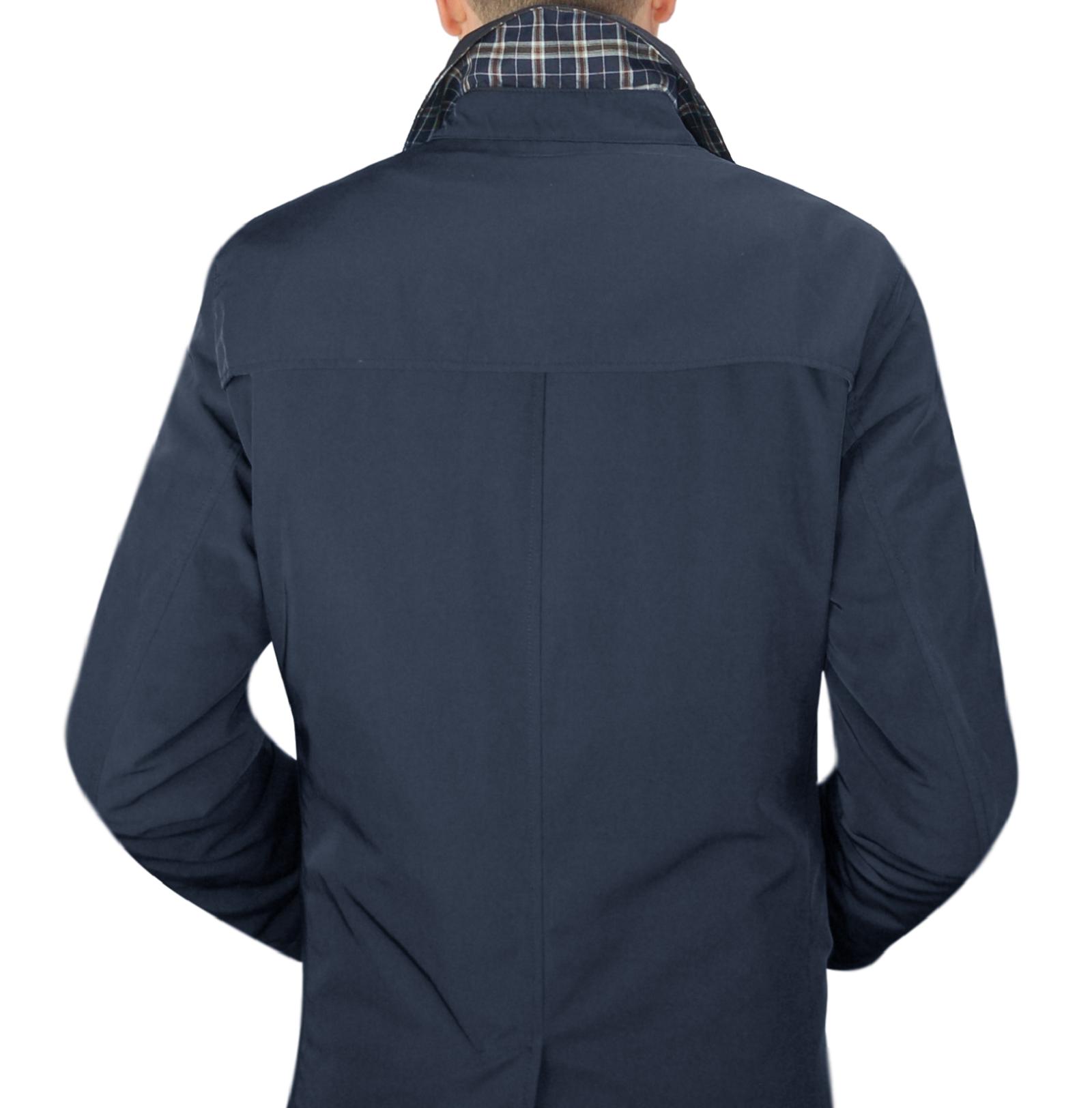 Impermeabile-Uomo-Giubbotto-Invernale-Trench-Lungo-Blu-Nero-Casual-Slim-Fit miniatura 10