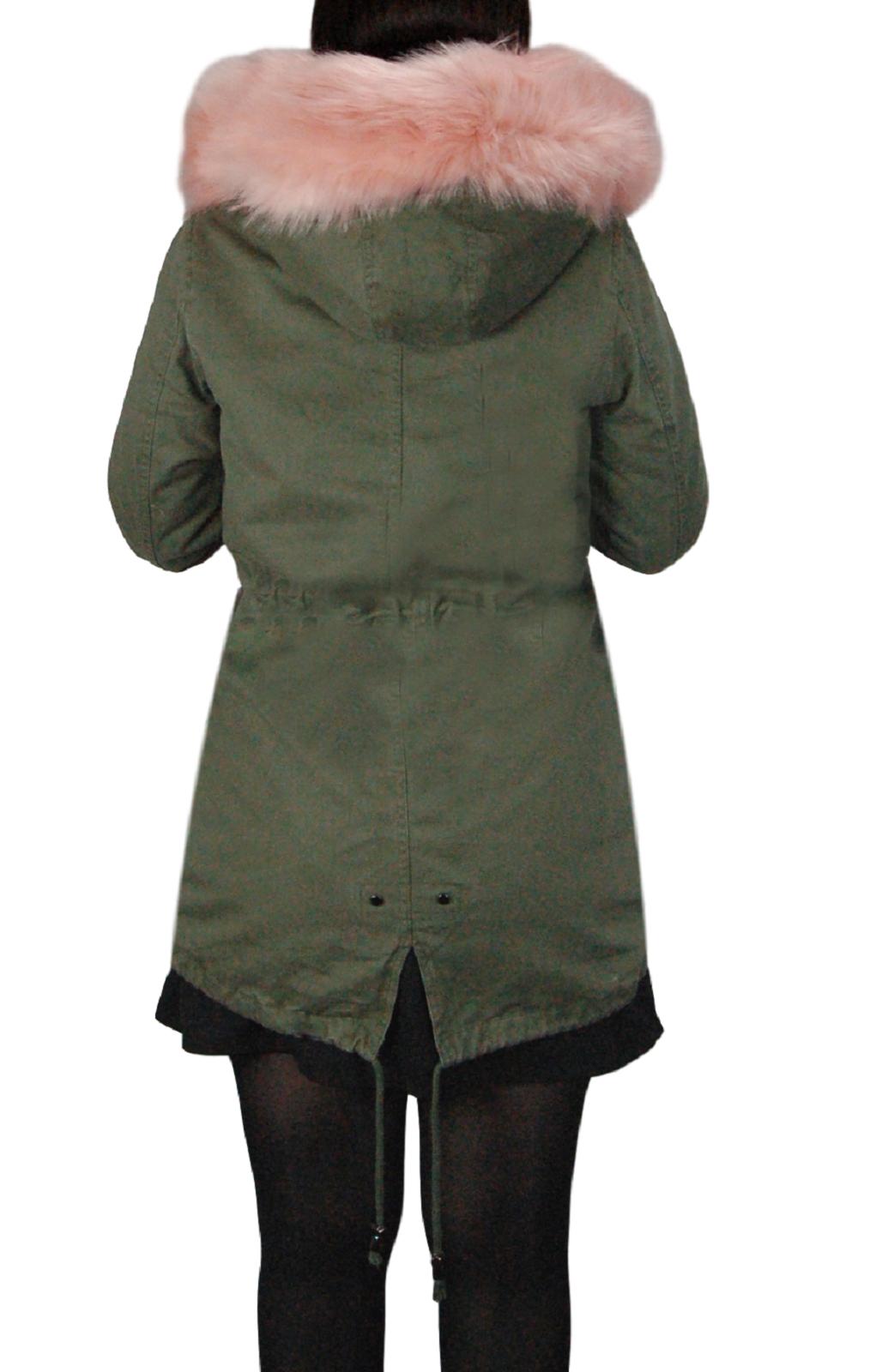Parka-Donna-Invernale-Giubbotto-cappuccio-pelliccia-Cappotto-Imbottito-Lungo miniatura 27
