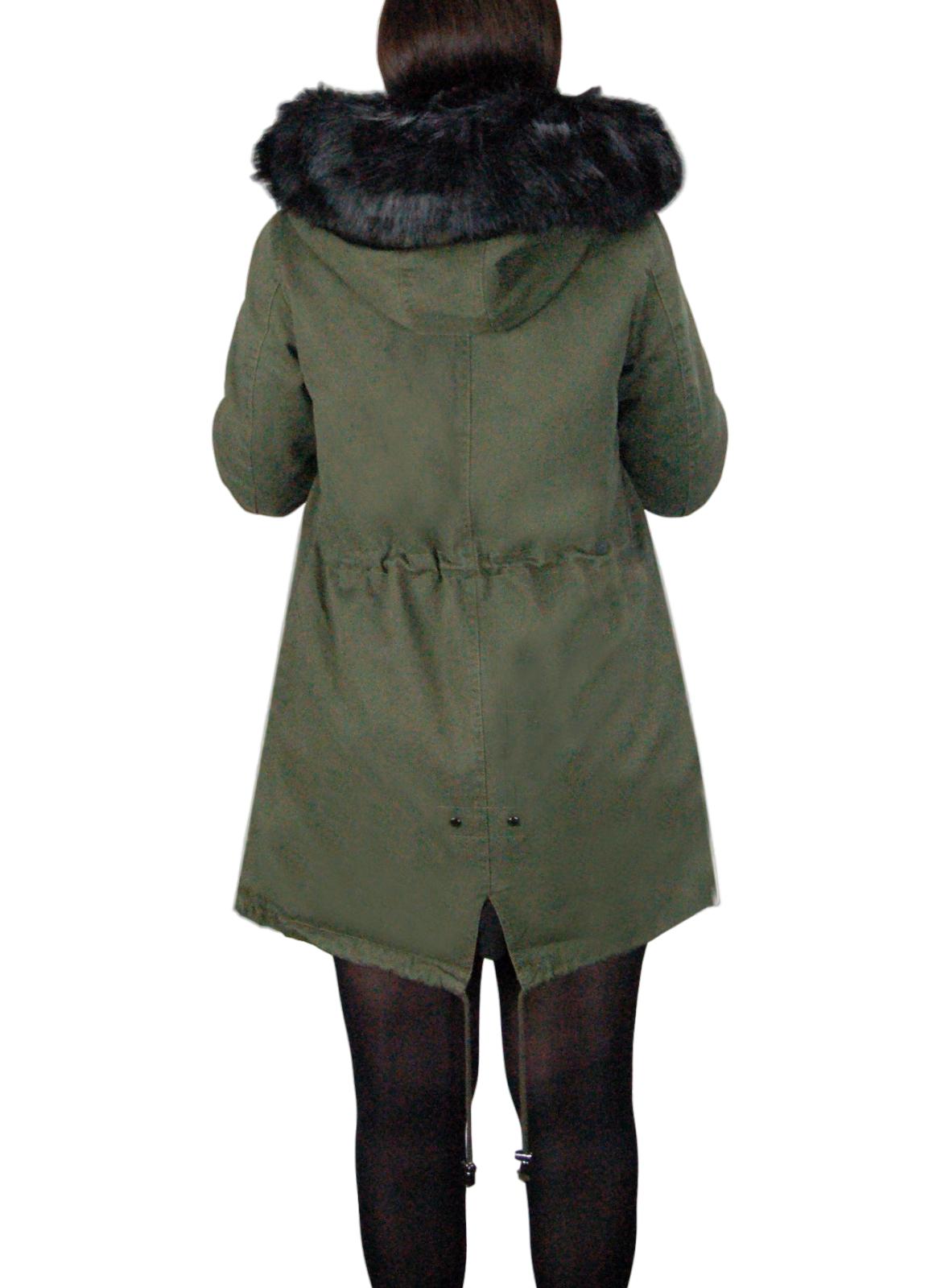 Parka-Donna-Invernale-Giubbotto-cappuccio-pelliccia-Cappotto-Imbottito-Lungo miniatura 15