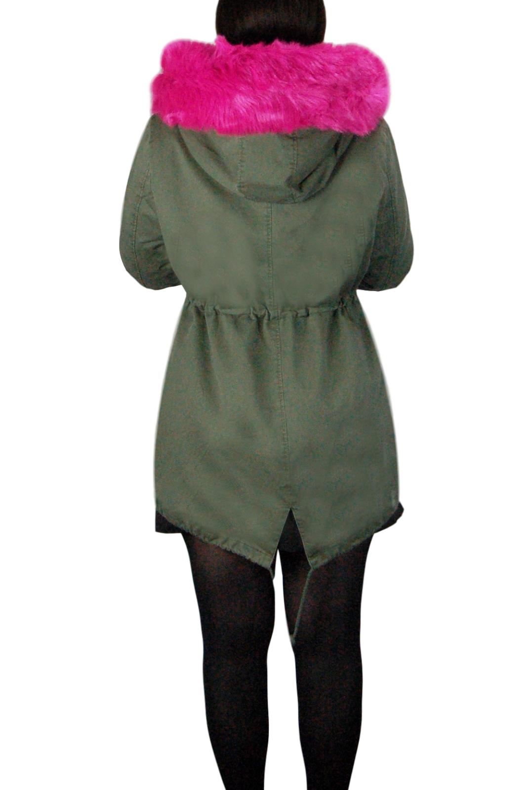 Parka-Donna-Invernale-Giubbotto-cappuccio-pelliccia-Cappotto-Imbottito-Lungo miniatura 21