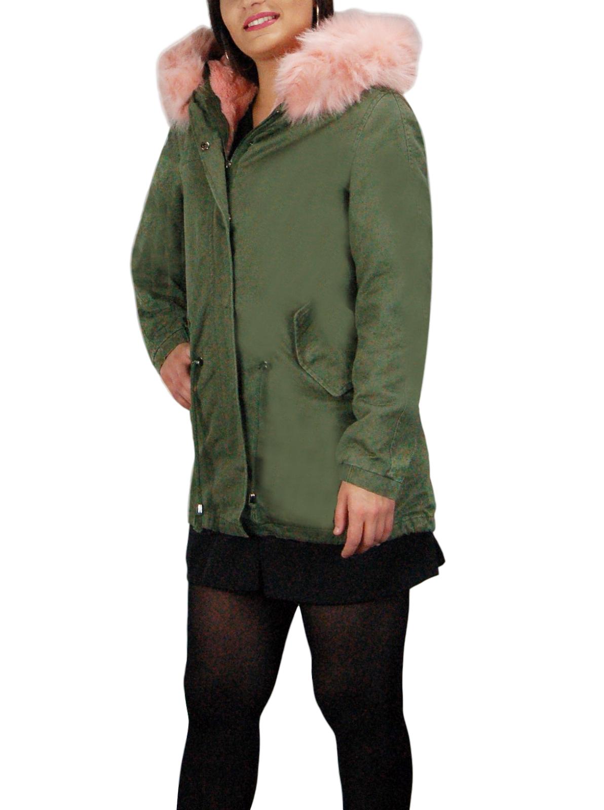 Parka-Donna-Invernale-Giubbotto-cappuccio-pelliccia-Cappotto-Imbottito-Lungo miniatura 26