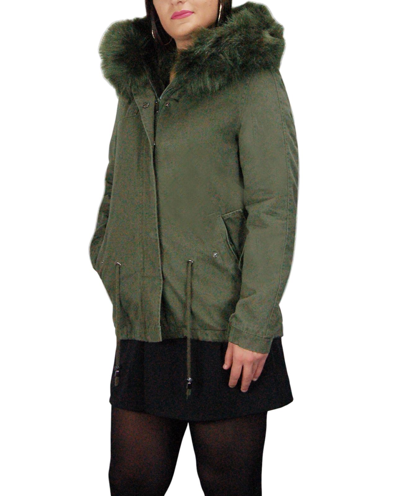 Parka-Donna-Invernale-Giubbotto-cappuccio-pelliccia-Cappotto-Imbottito-Lungo miniatura 23