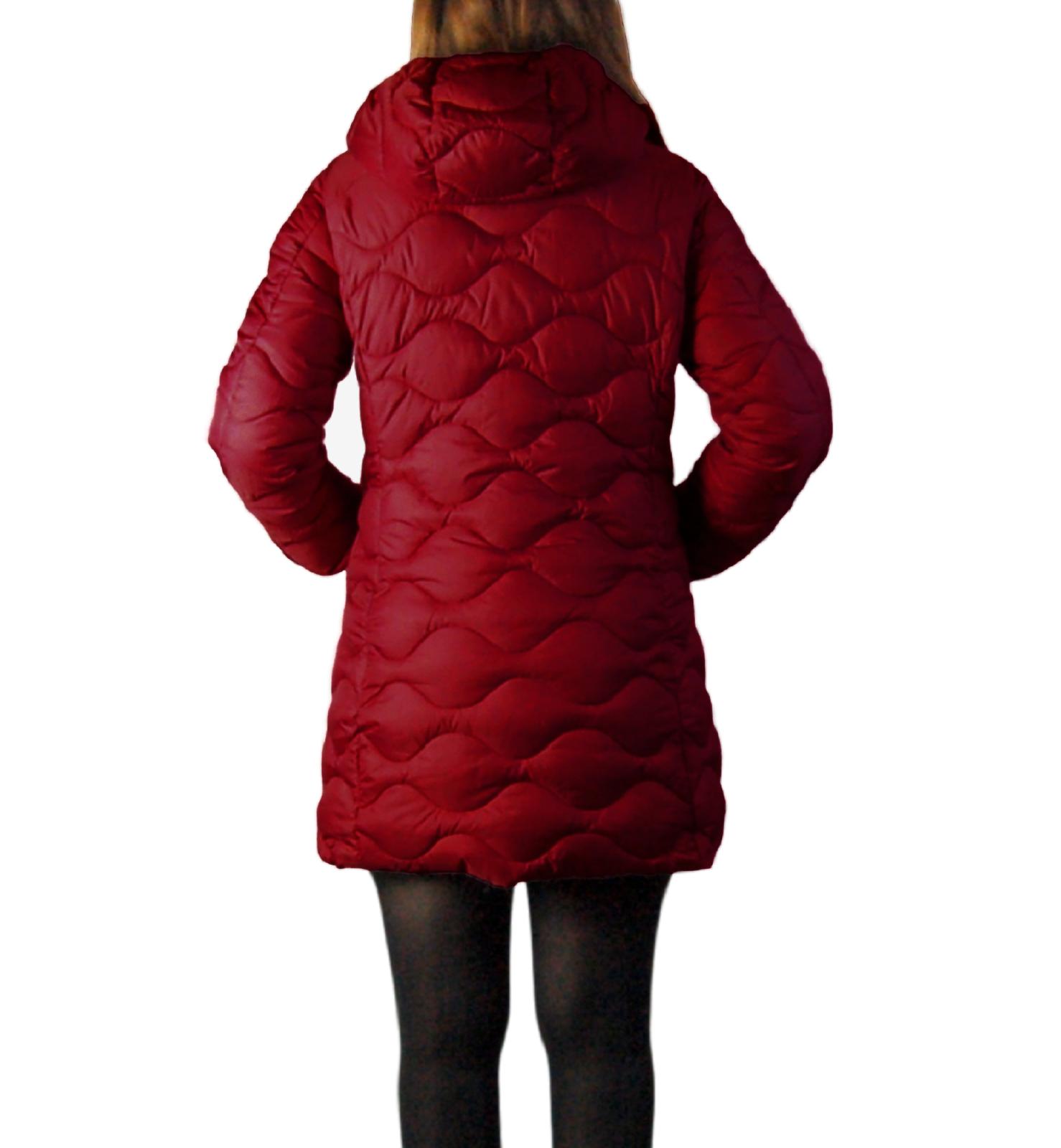 Piumino-Donna-Invernale-Giubbotto-Lungo-Giubbino-Caldo-Imbottito-Cappuccio miniatura 11