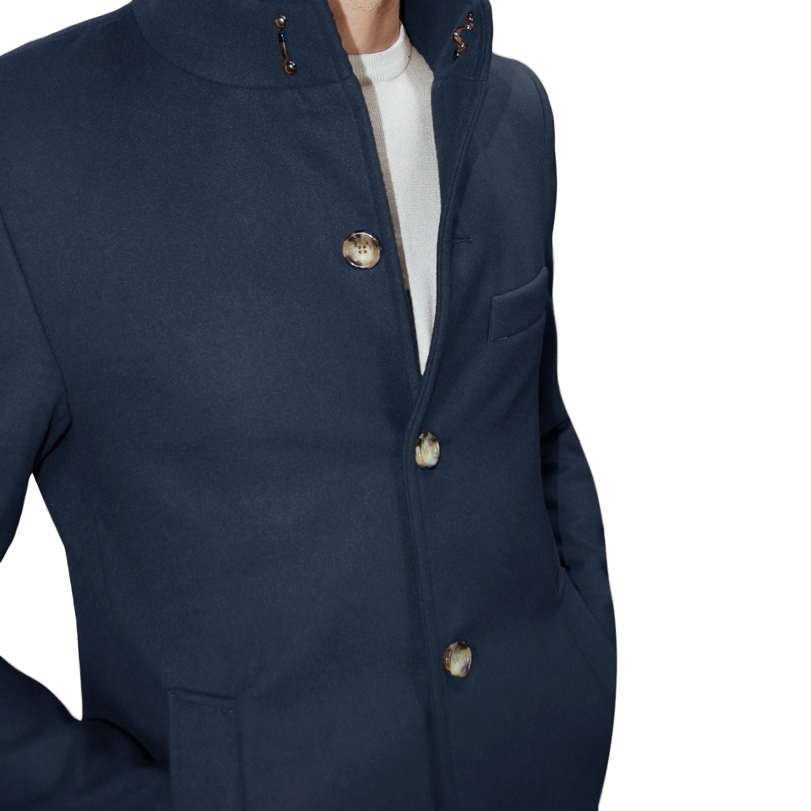Cappotto-Uomo-Elegante-Giubbotto-Invernale-Blu-Camel-Trench-Lungo miniature 15