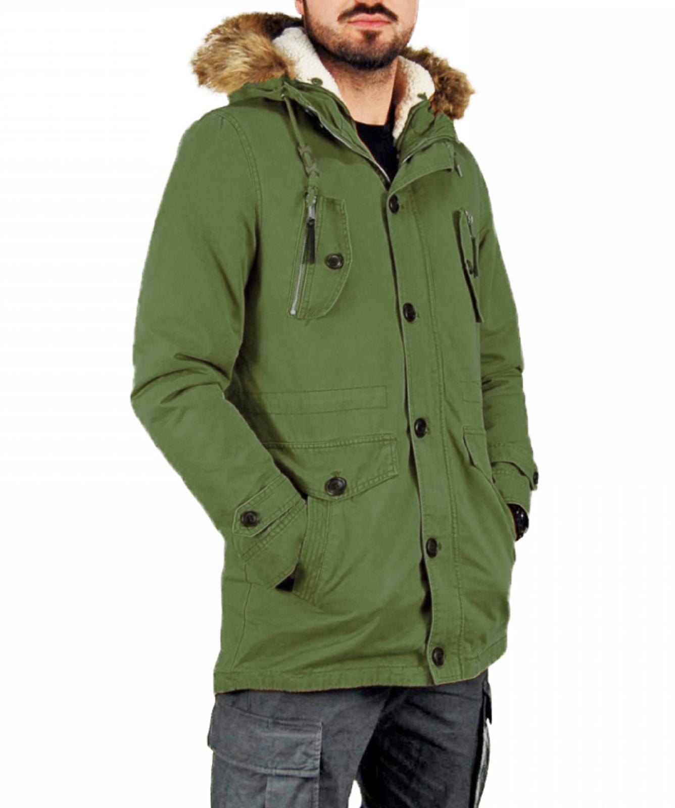 Giubbotto-Parka-Uomo-Invernale-Sfoderabile-pelliccia-cappuccio-lungo-verde miniatura 22