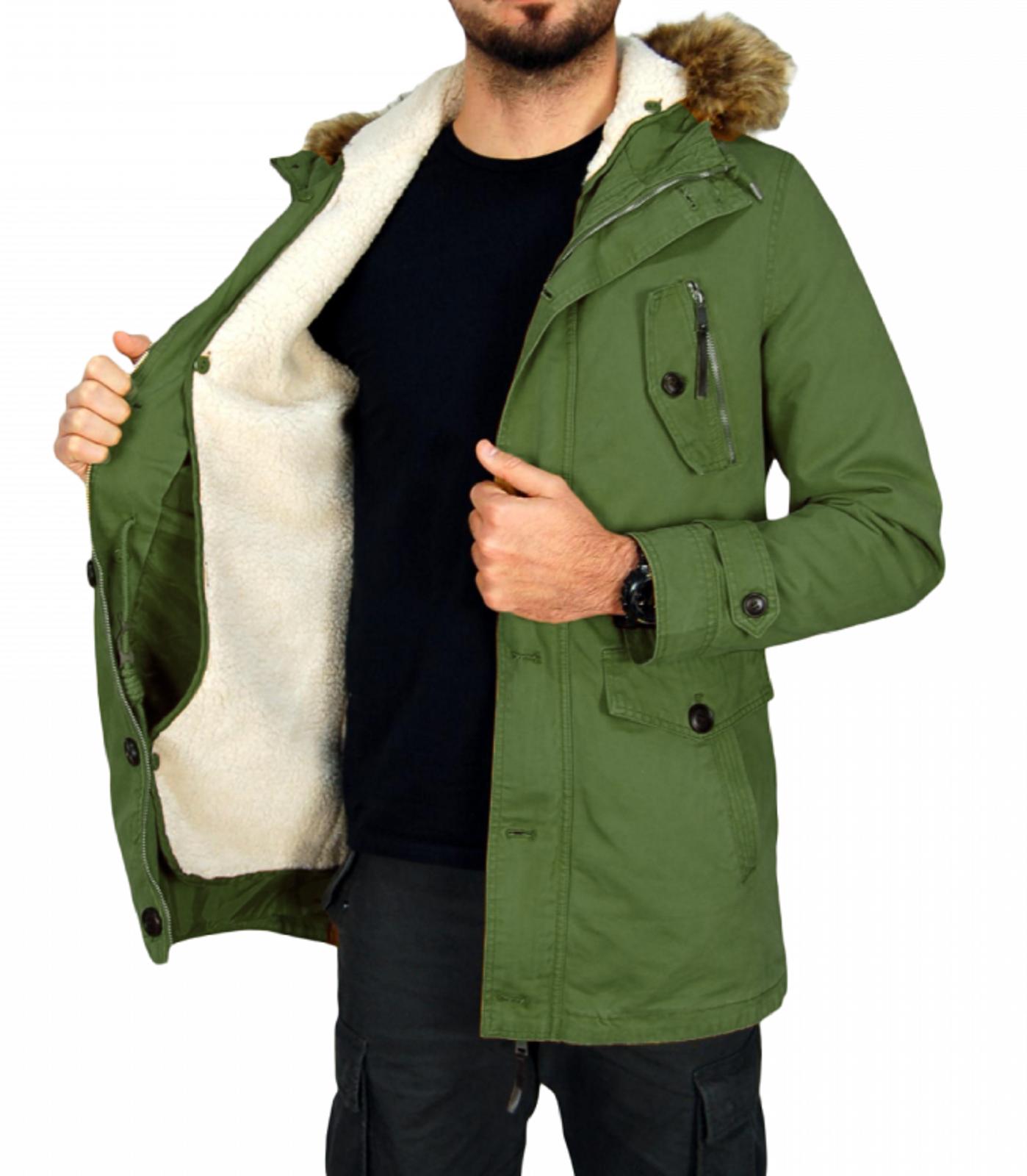 Giubbotto-Parka-Uomo-Invernale-Sfoderabile-pelliccia-cappuccio-lungo-verde miniatura 20