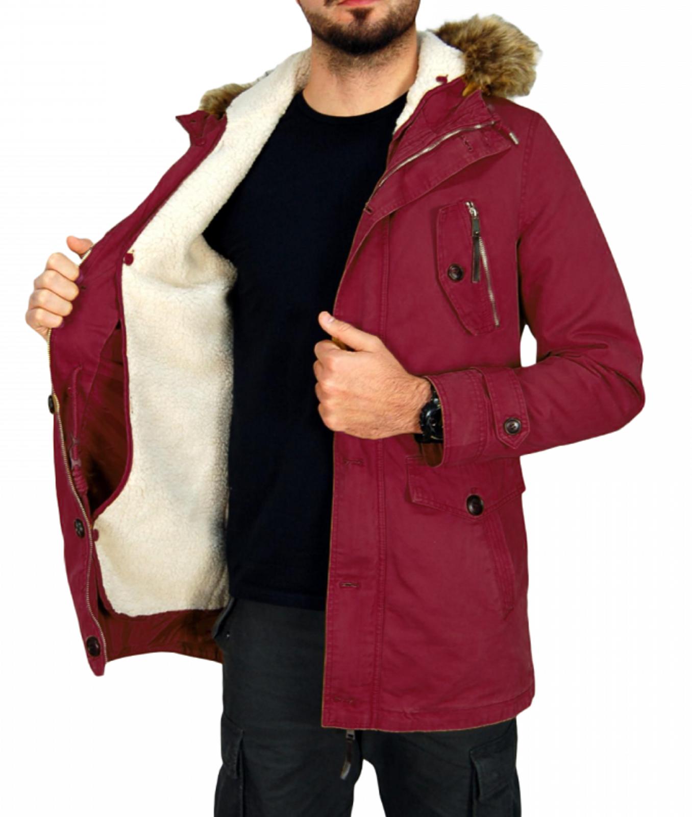 Giubbotto-Parka-Uomo-Invernale-Sfoderabile-pelliccia-cappuccio-lungo-verde miniatura 16