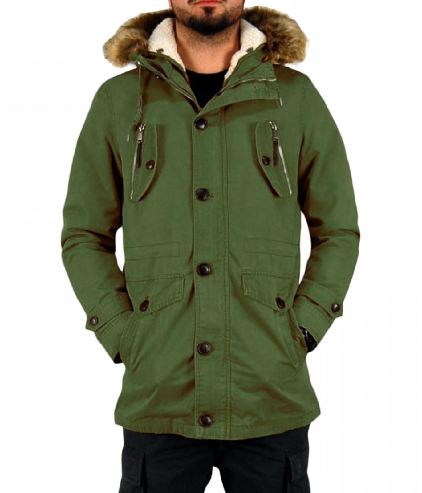 Giubbotto-Parka-Uomo-Invernale-Sfoderabile-pelliccia-cappuccio-lungo-verde miniatura 21