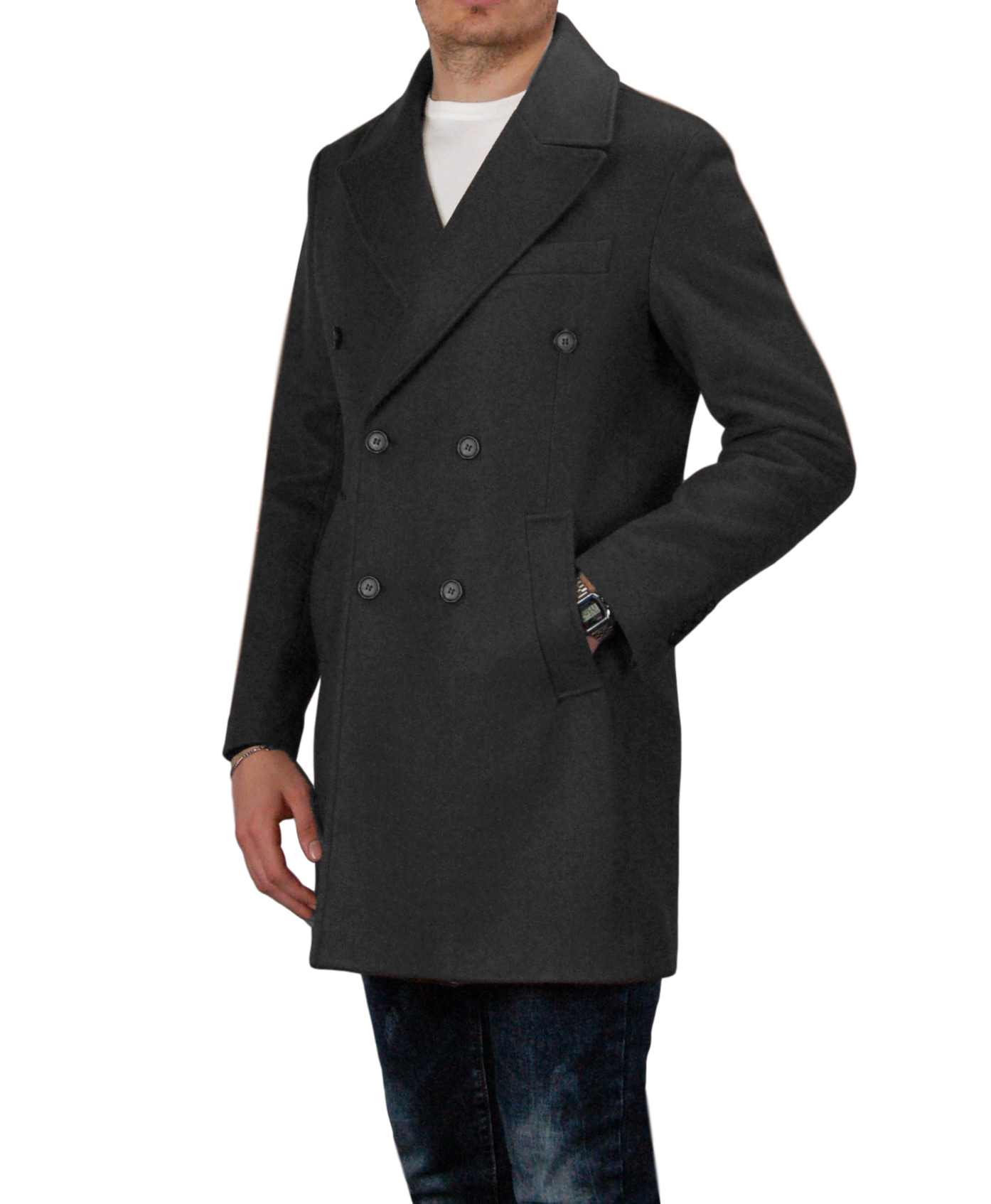 Cappotto-Doppio-Petto-Uomo-Invernale-Cappottino-Elegante-Lungo-Trench miniatura 15