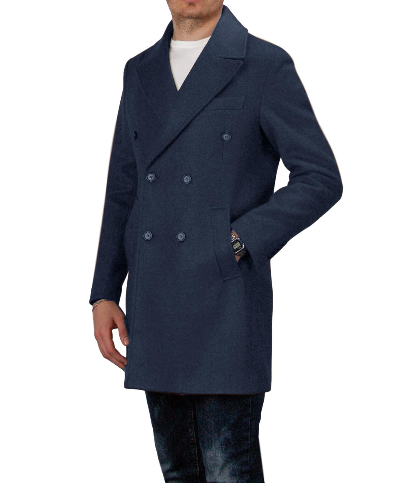 Cappotto-Doppio-Petto-Uomo-Invernale-Cappottino-Elegante-Lungo-Trench miniatura 19