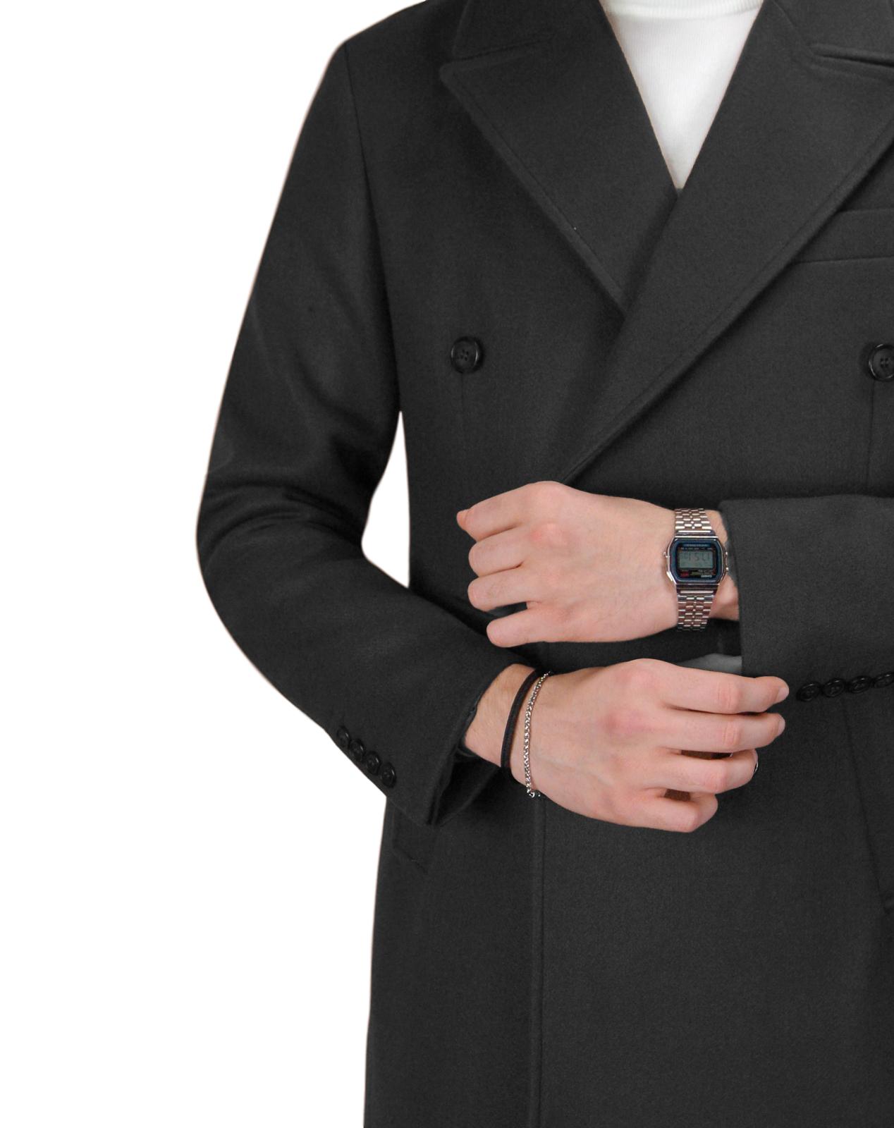 Cappotto-Doppio-Petto-Uomo-Invernale-Cappottino-Elegante-Lungo-Trench miniatura 14