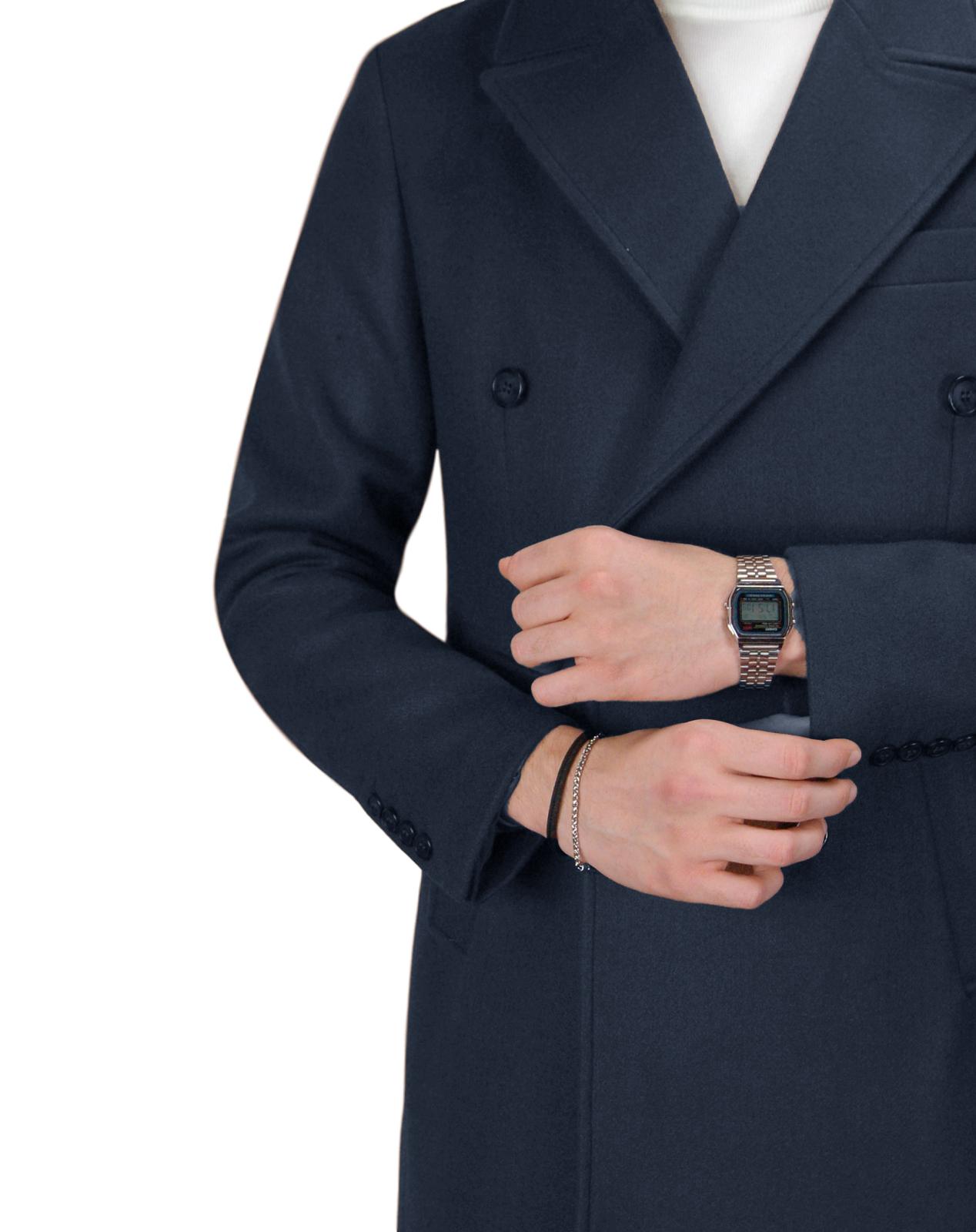 Cappotto-Doppio-Petto-Uomo-Invernale-Cappottino-Elegante-Lungo-Trench miniatura 18