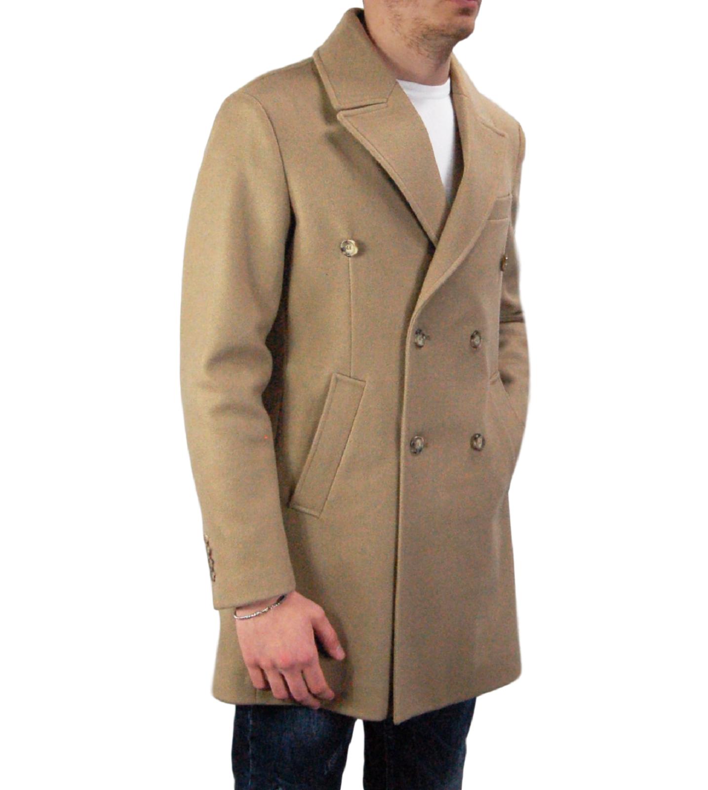 Cappotto-Doppio-Petto-Uomo-Invernale-Cappottino-Elegante-Lungo-Trench miniatura 22