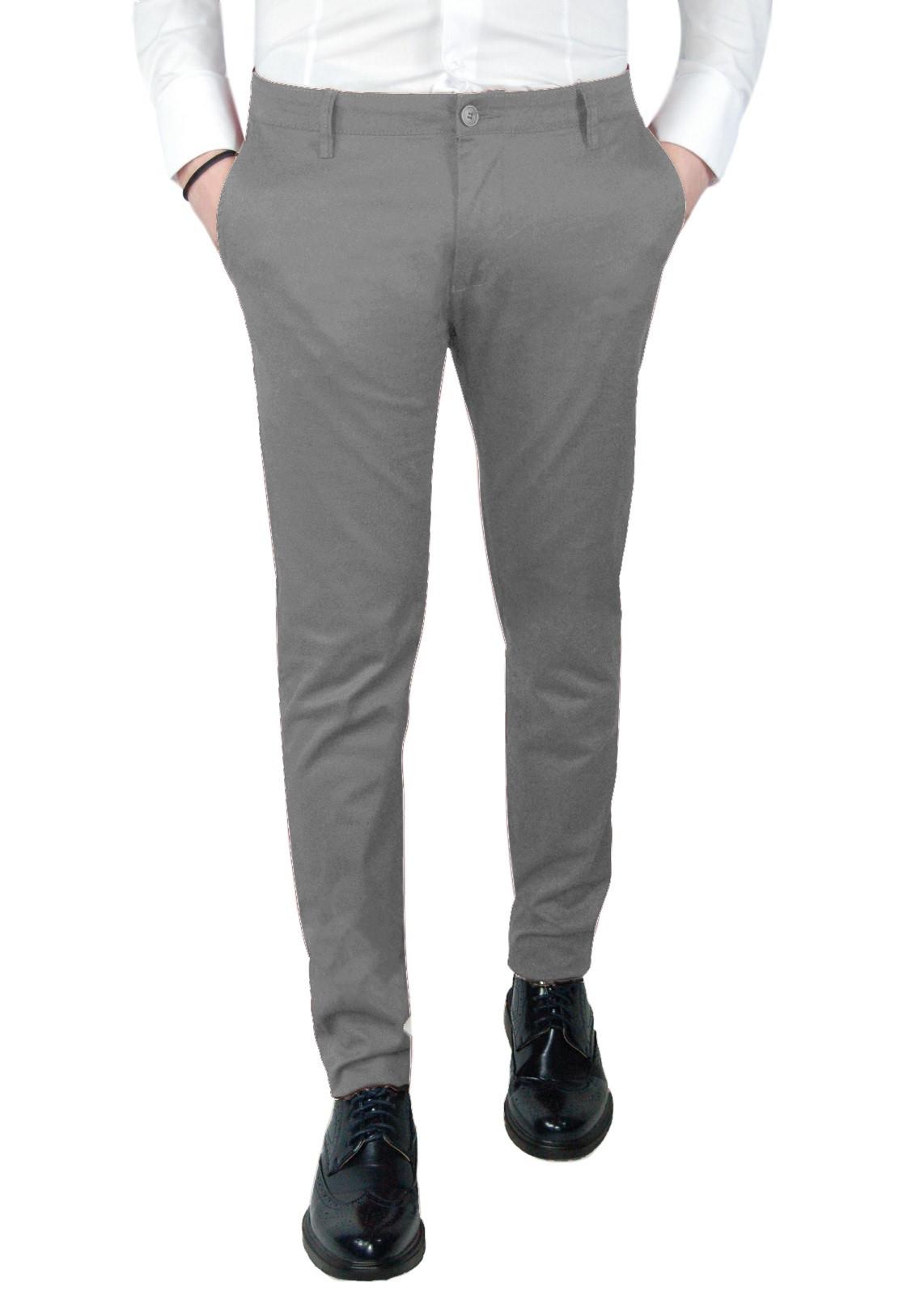 Pantalone-Uomo-Chino-Slim-fit-Primaverile-tasca-america-Bianco-Grigio-Senape-Bei miniatura 19