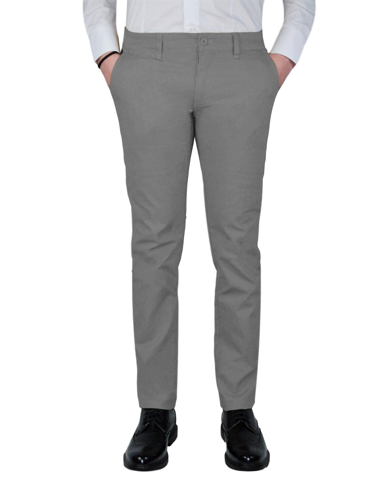 Pantalone-Uomo-Chino-Slim-fit-Primaverile-tasca-america-Bianco-Grigio-Senape-Bei miniatura 17