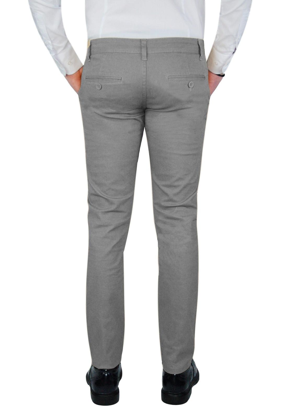 Pantalone-Uomo-Chino-Slim-fit-Primaverile-tasca-america-Bianco-Grigio-Senape-Bei miniatura 20