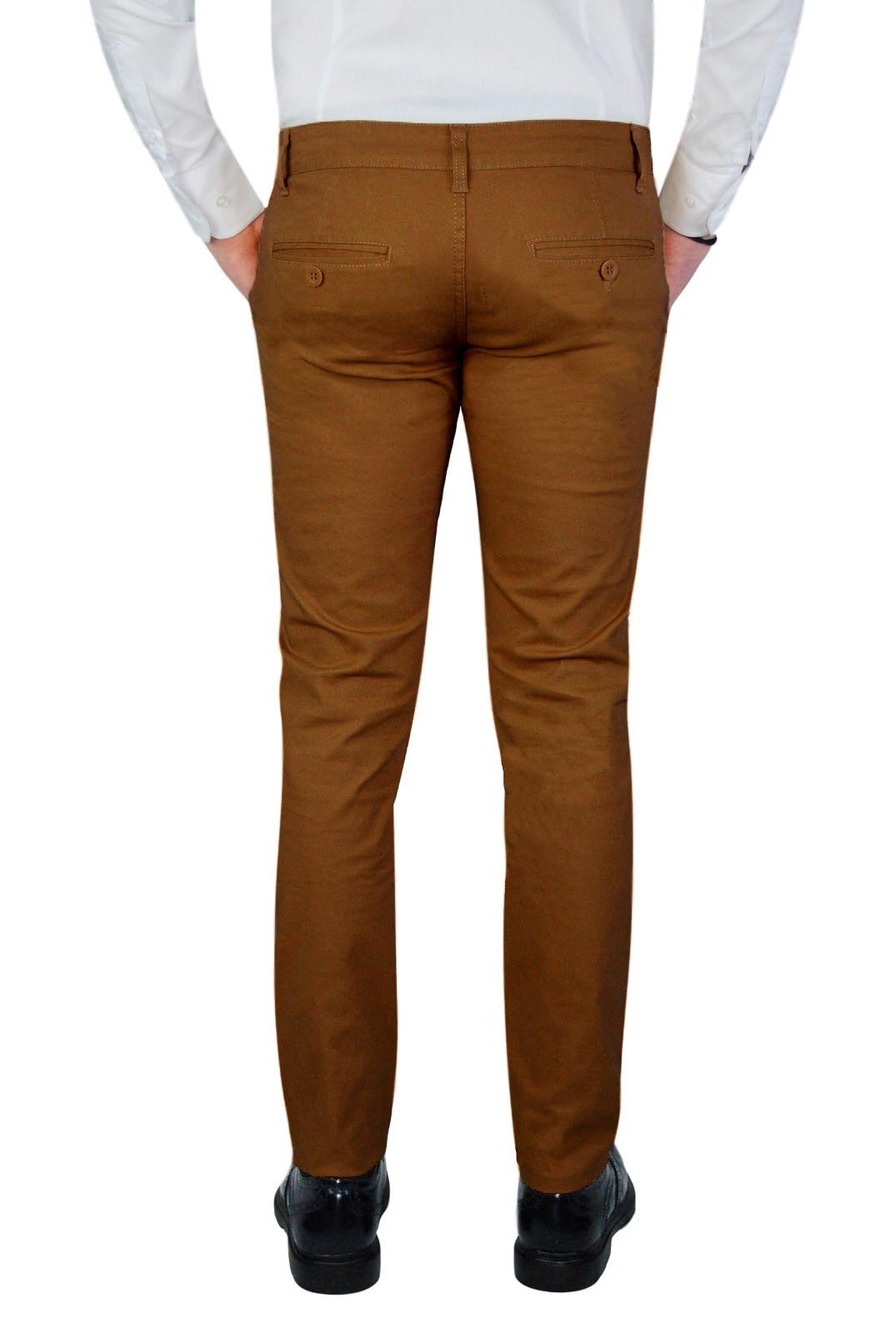 Pantalone-Uomo-Slim-Fit-Chino-Invernale-tasca-america-Cotone-Blu-Nero-Verde miniatura 29