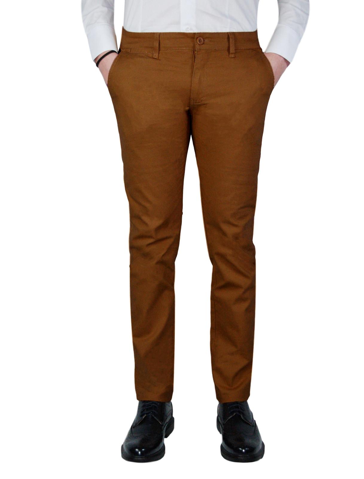 Pantalone-Uomo-Slim-Fit-Chino-Invernale-tasca-america-Cotone-Blu-Nero-Verde miniatura 28