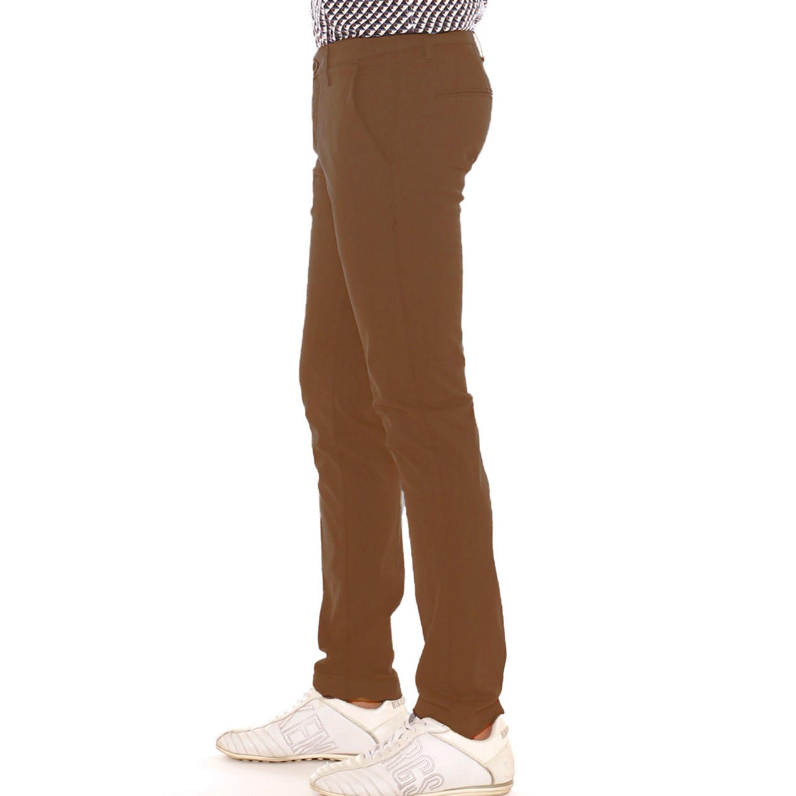 Pantalone-Uomo-Slim-fit-Chino-Elegante-Invernale-America-Cotone-Tasca-america miniatura 32