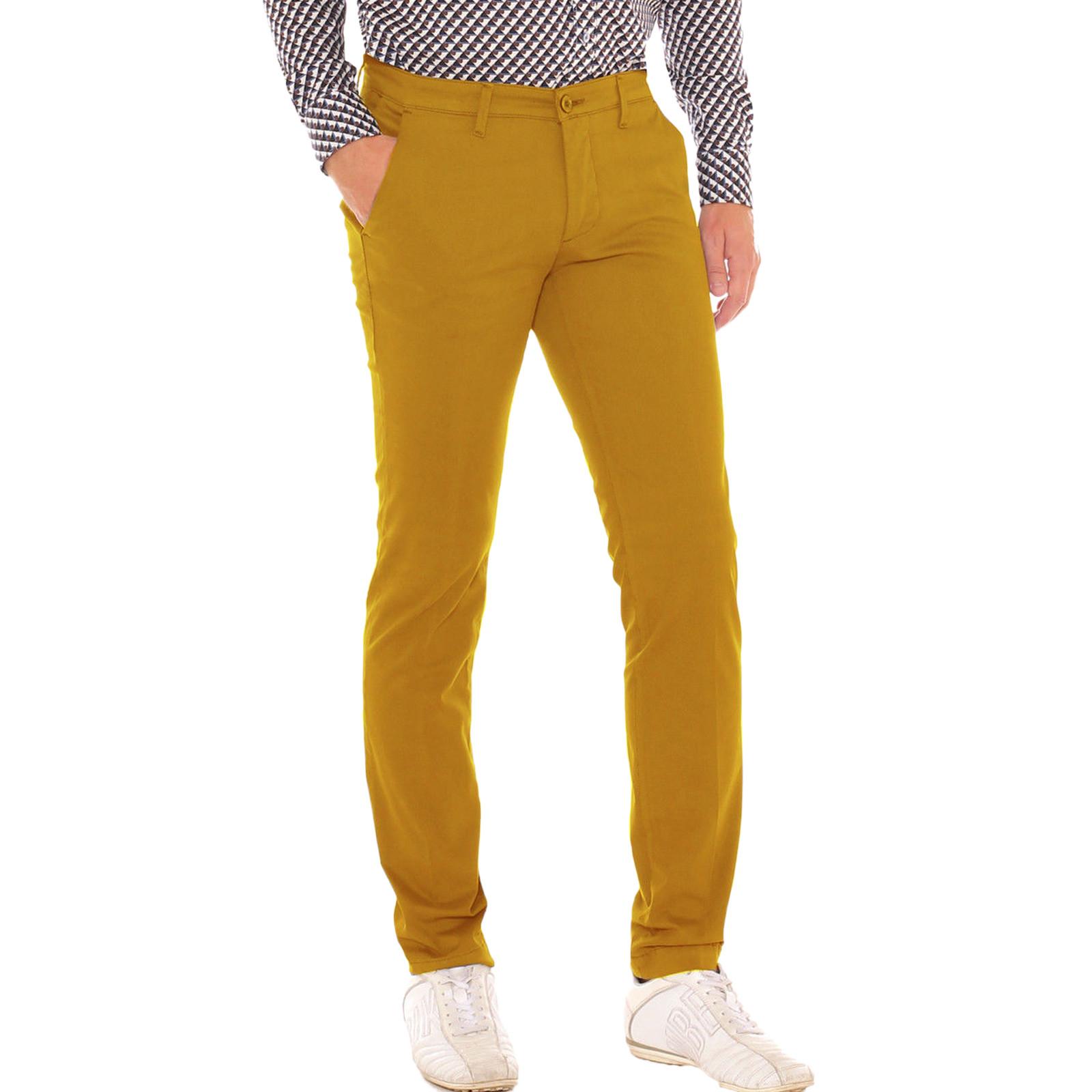 Pantalone-Uomo-Slim-fit-Chino-Elegante-Invernale-America-Cotone-Tasca-america miniatura 29