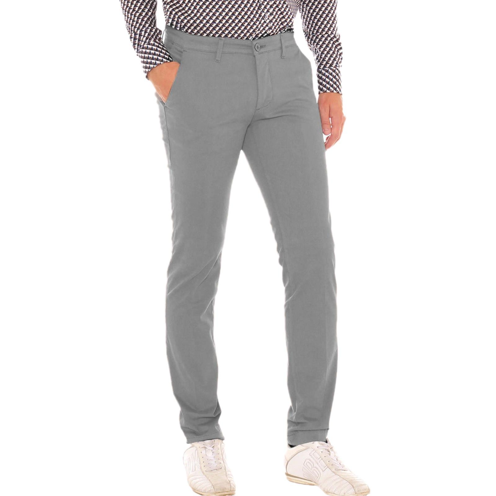 Pantalone-Uomo-Slim-fit-Chino-Elegante-Invernale-America-Cotone-Tasca-america miniatura 33