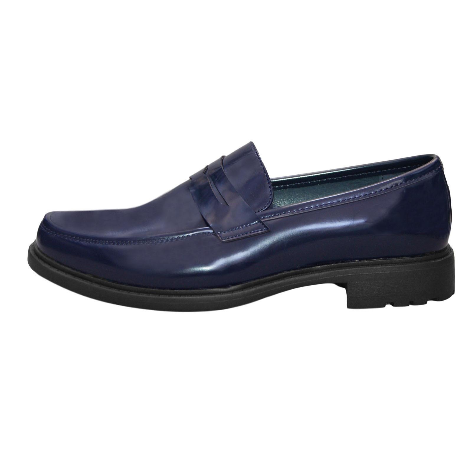 Mocassini-Uomo-Pelle-Blu-Nero-Scarpe-Eleganti-Classiche-Mocassino-Cerimonia miniatura 12