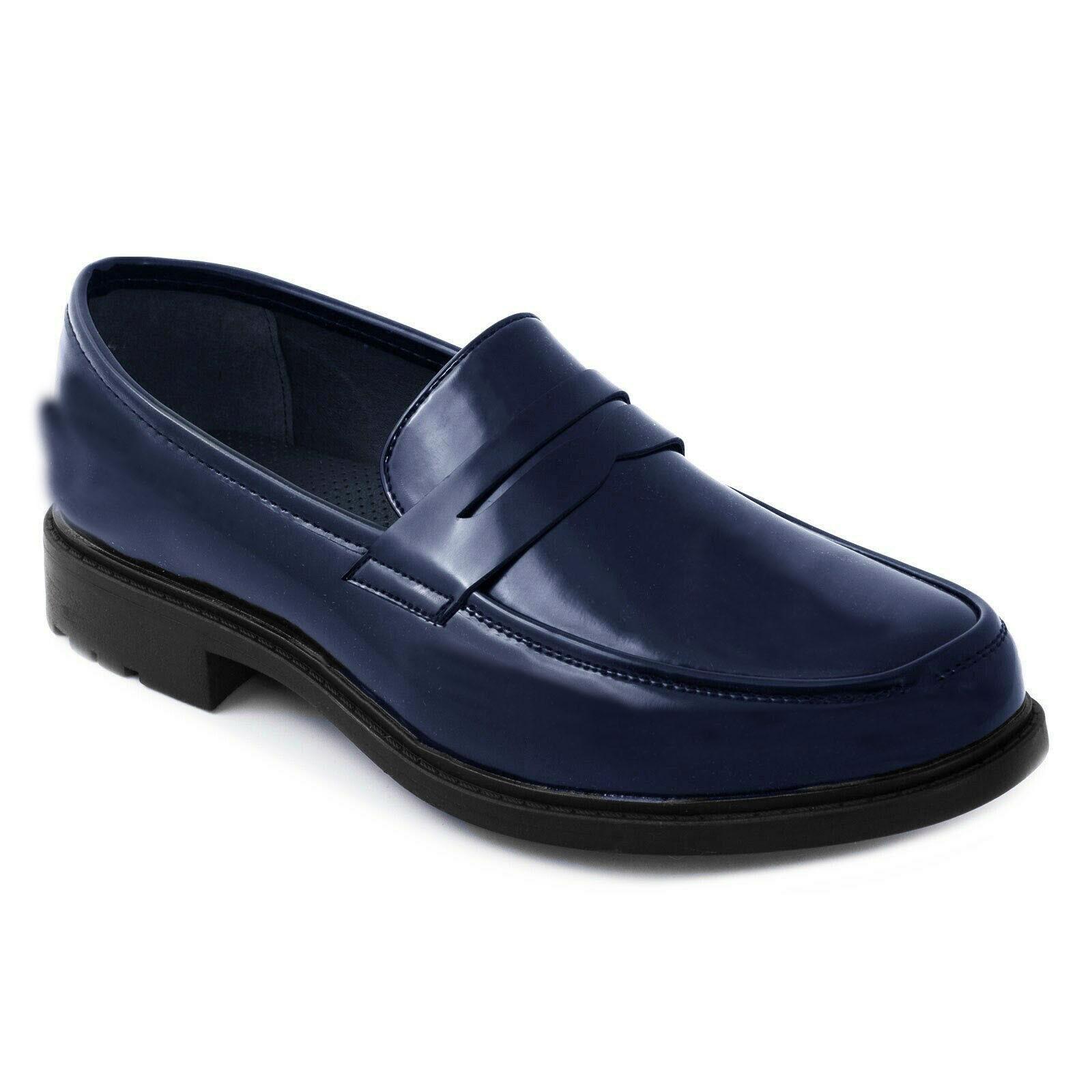 Mocassini-Uomo-Pelle-Blu-Nero-Scarpe-Eleganti-Classiche-Mocassino-Cerimonia miniatura 13