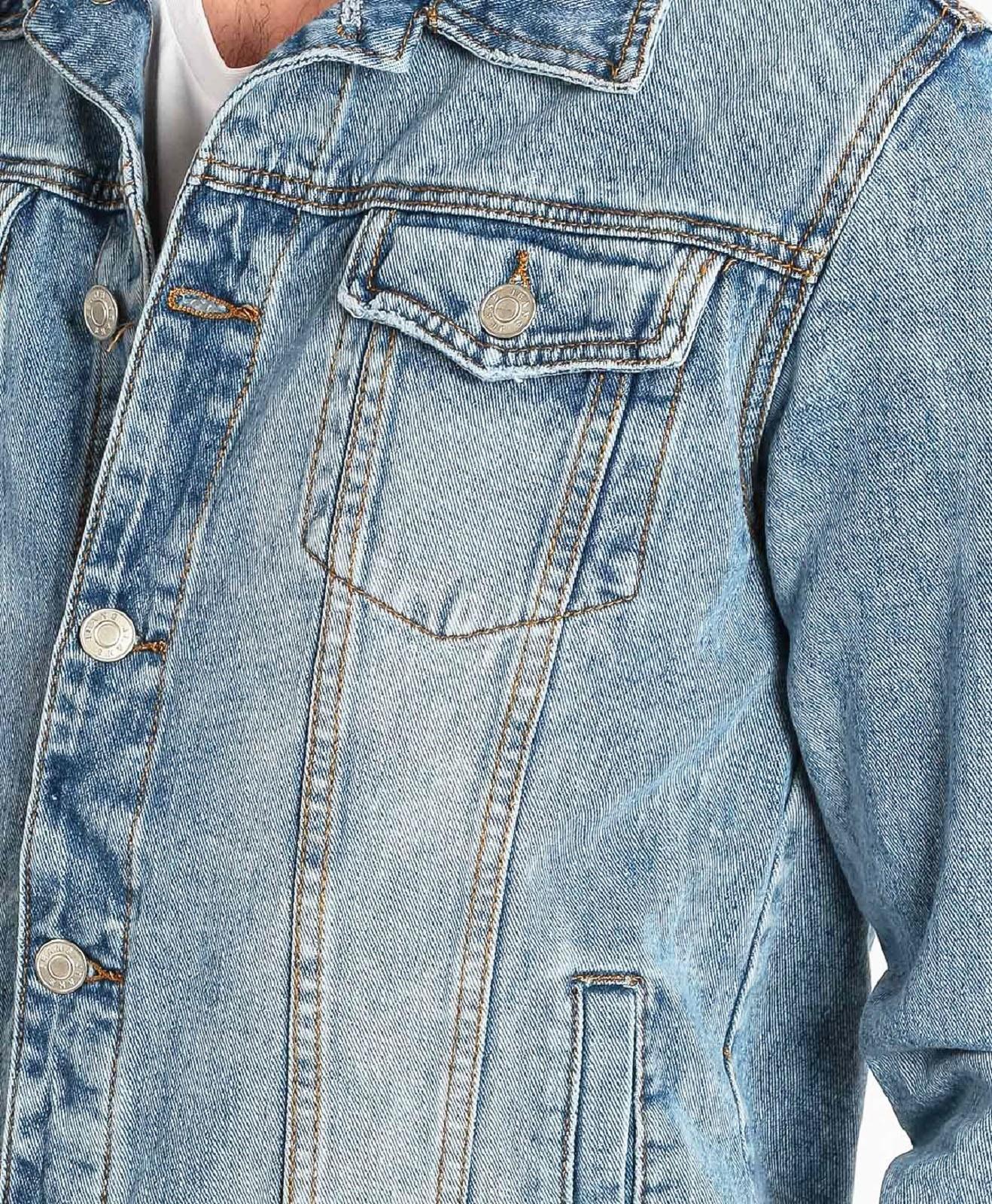 Giubbino-Jeans-Uomo-Giacca-Denim-Casual-Giacca-Slim-Fit-Blu-Chiaro miniatura 13