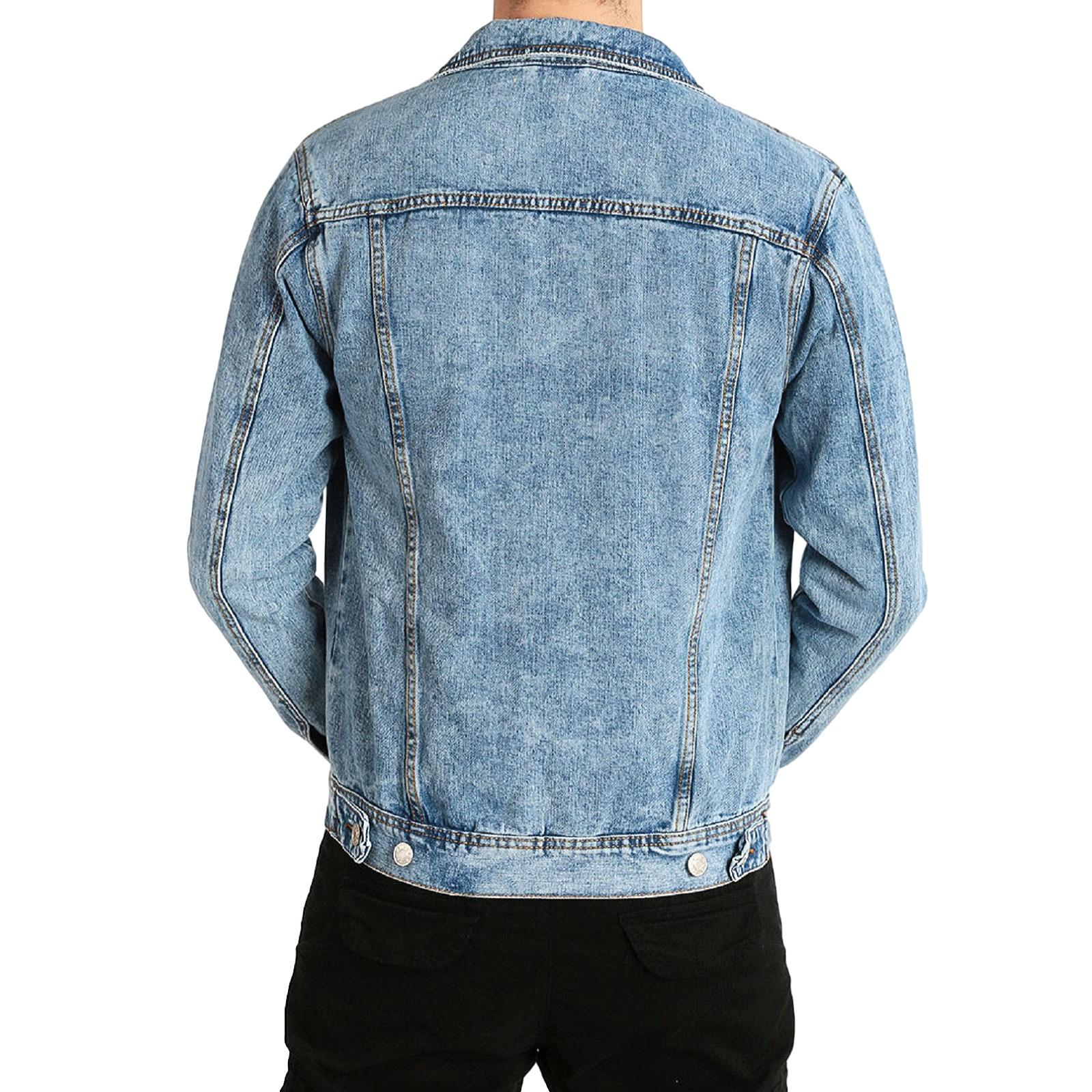 Giubbino-Jeans-Uomo-Giacca-Denim-Casual-Giacca-Slim-Fit-Blu-Chiaro miniatura 11