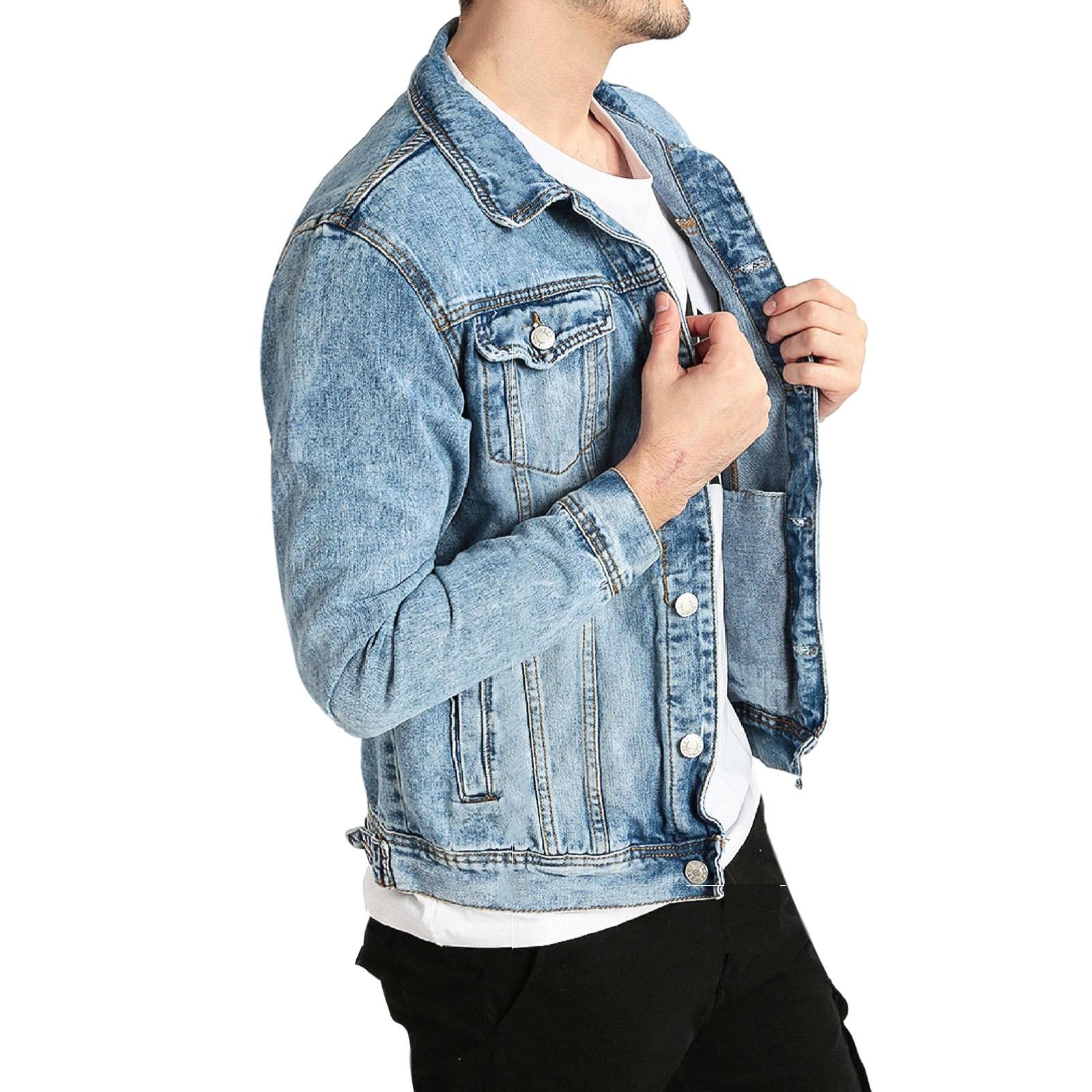 Giubbino-Jeans-Uomo-Giacca-Denim-Casual-Giacca-Slim-Fit-Blu-Chiaro miniatura 12