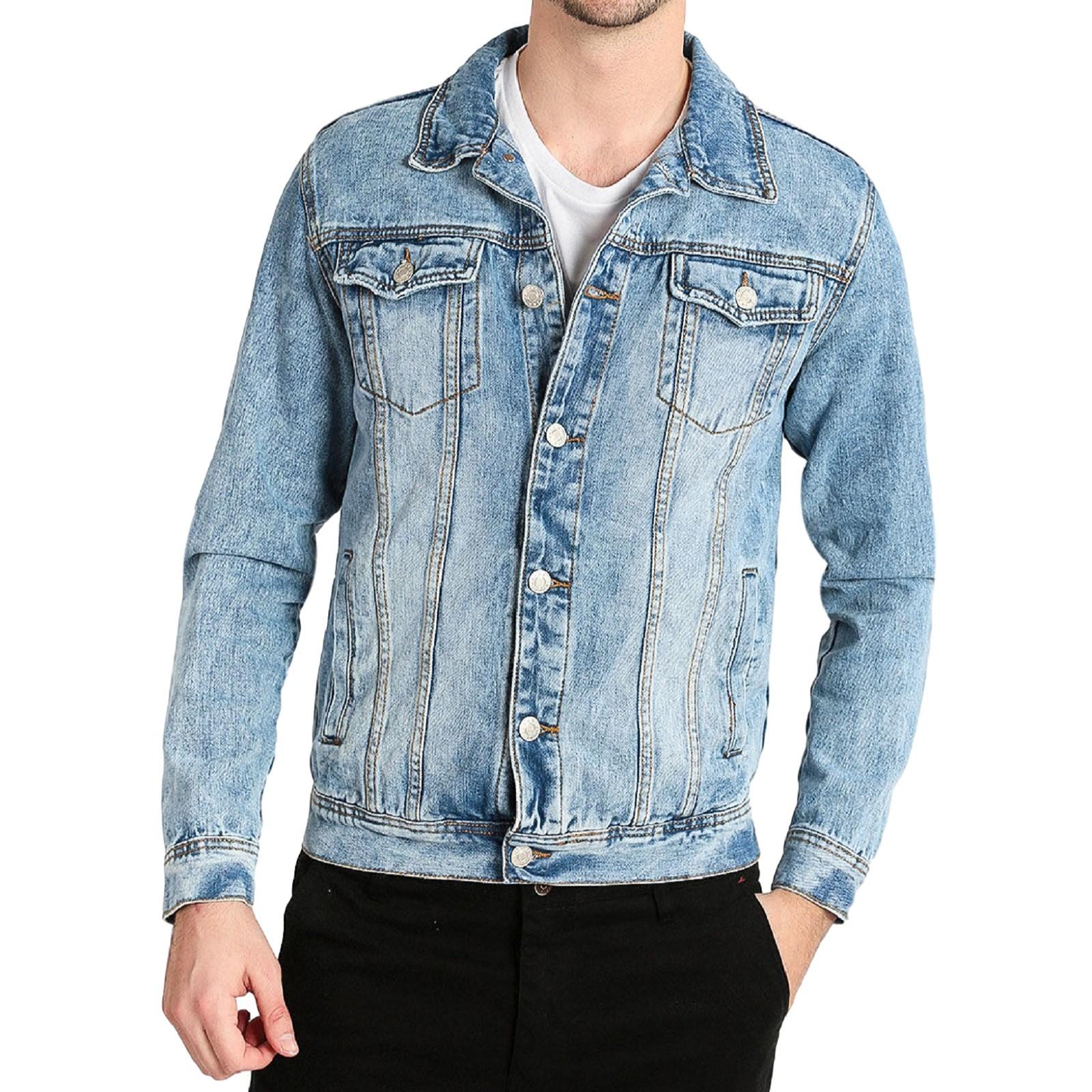 Giubbino-Jeans-Uomo-Giacca-Denim-Casual-Giacca-Slim-Fit-Blu-Chiaro miniatura 10