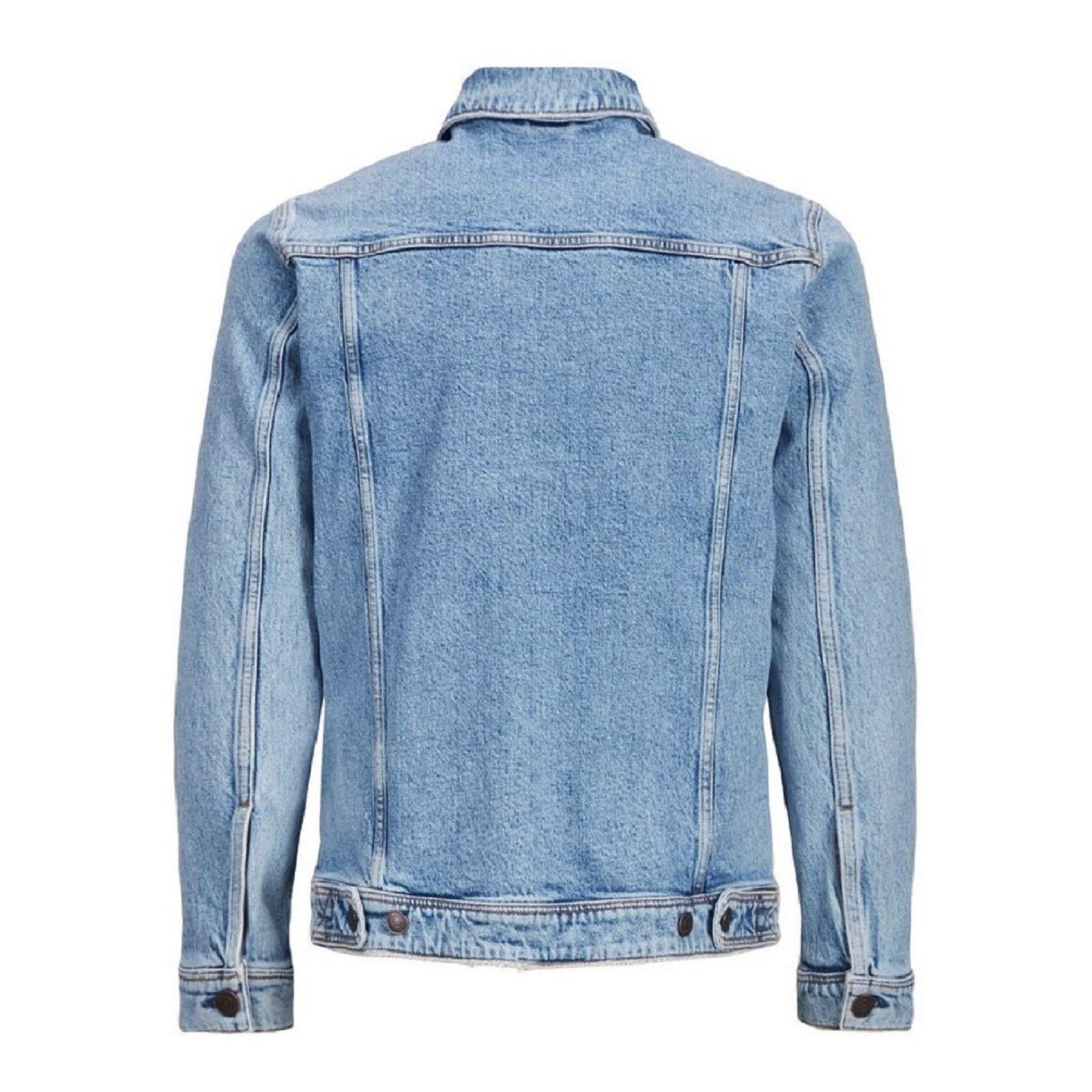 Giubbino-Jeans-Uomo-Giacca-Denim-Casual-Giacca-Slim-Fit-Blu-Chiaro miniatura 9