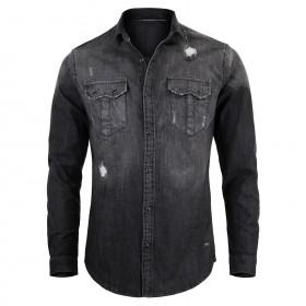 Camicia Uomo Jeans Nera...