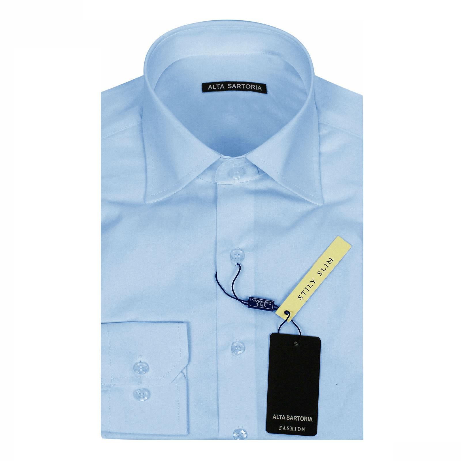 Camicia-Uomo-Celeste-Bianca-Slim-Fit-Manica-Lunga-Sartoriale-Cotone-TG-S-7XL miniatura 21