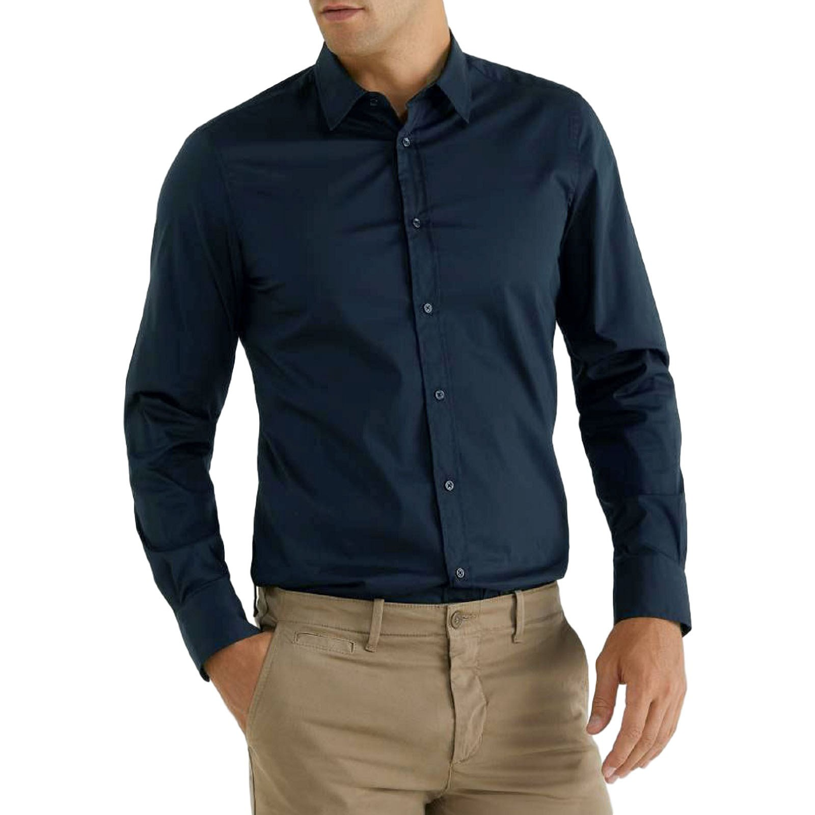 Camicia-Uomo-Celeste-Bianca-Slim-Fit-Manica-Lunga-Sartoriale-Cotone-TG-S-7XL miniatura 20